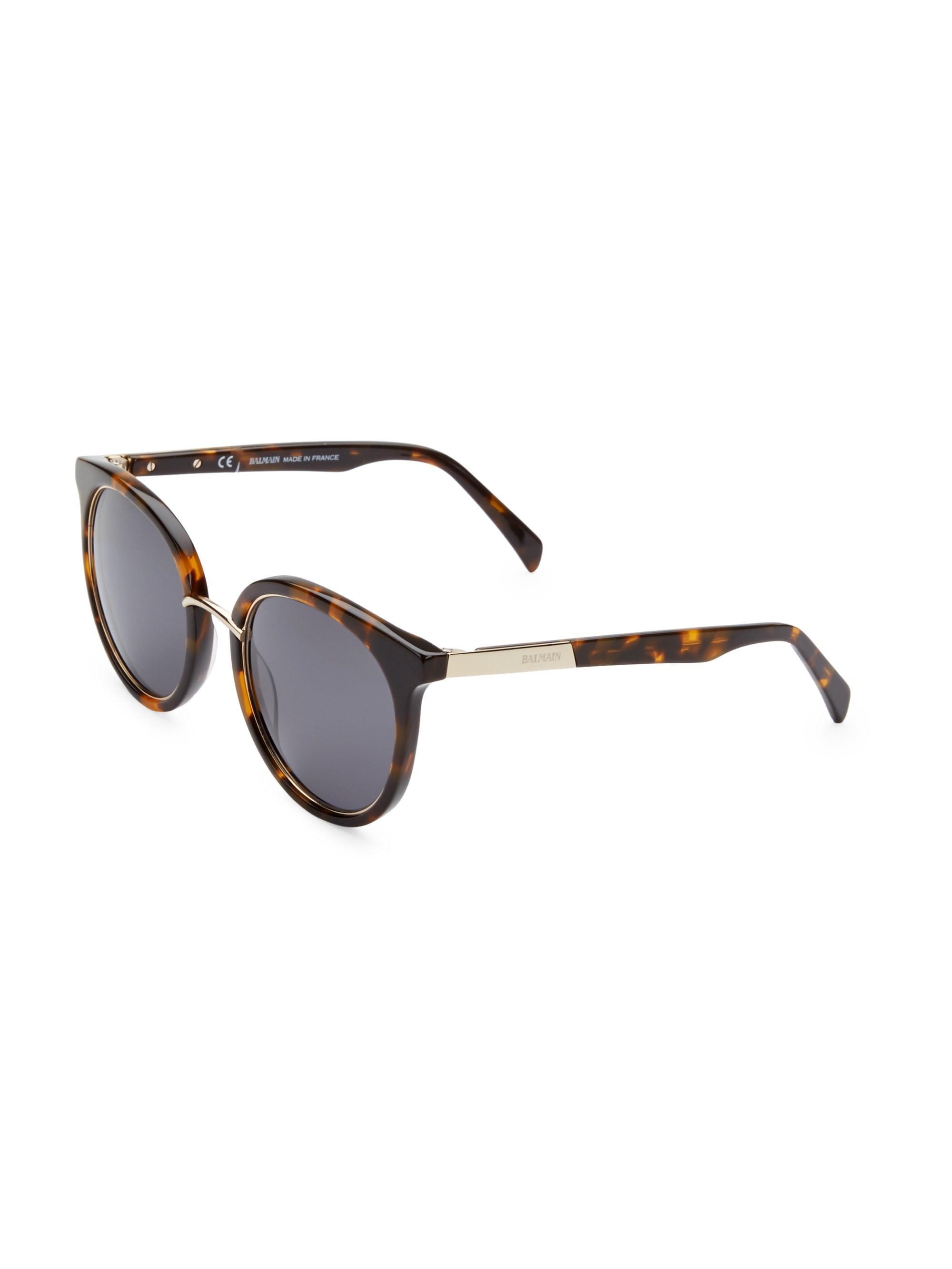 9291b67509e2f Balmain Men s 51mm Round Tortoise Sunglasses - Tortise Smoke for Men ...