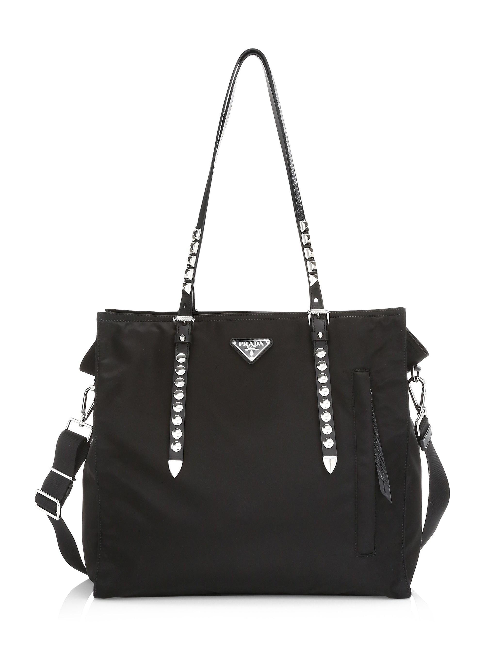 251bad1f3702 Prada - Black Nylon Shopper With Studding - Lyst. View fullscreen