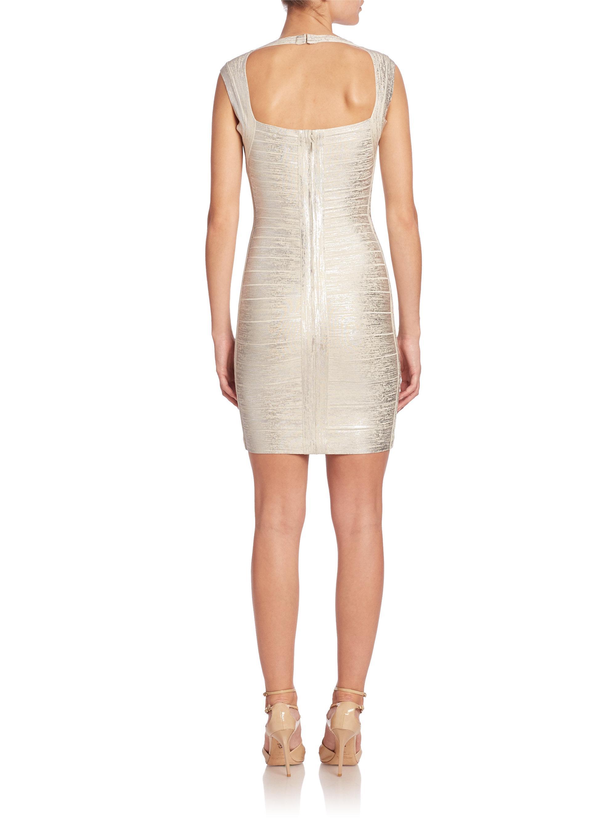 Fringed Metallic Bandage Gown - Silver H QDQ58
