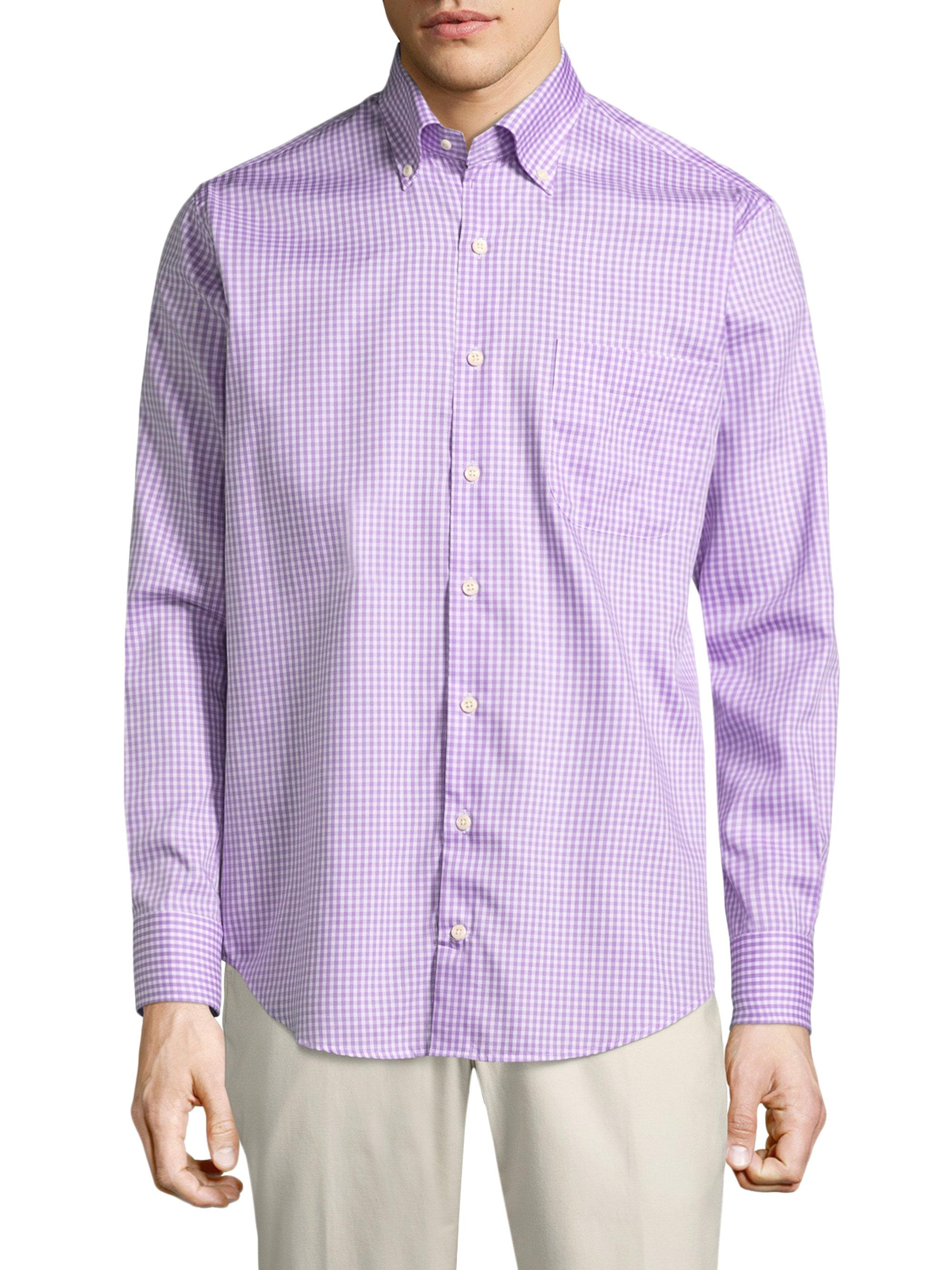 Lyst peter millar crown gingham button down shirt in for Men s purple gingham shirt