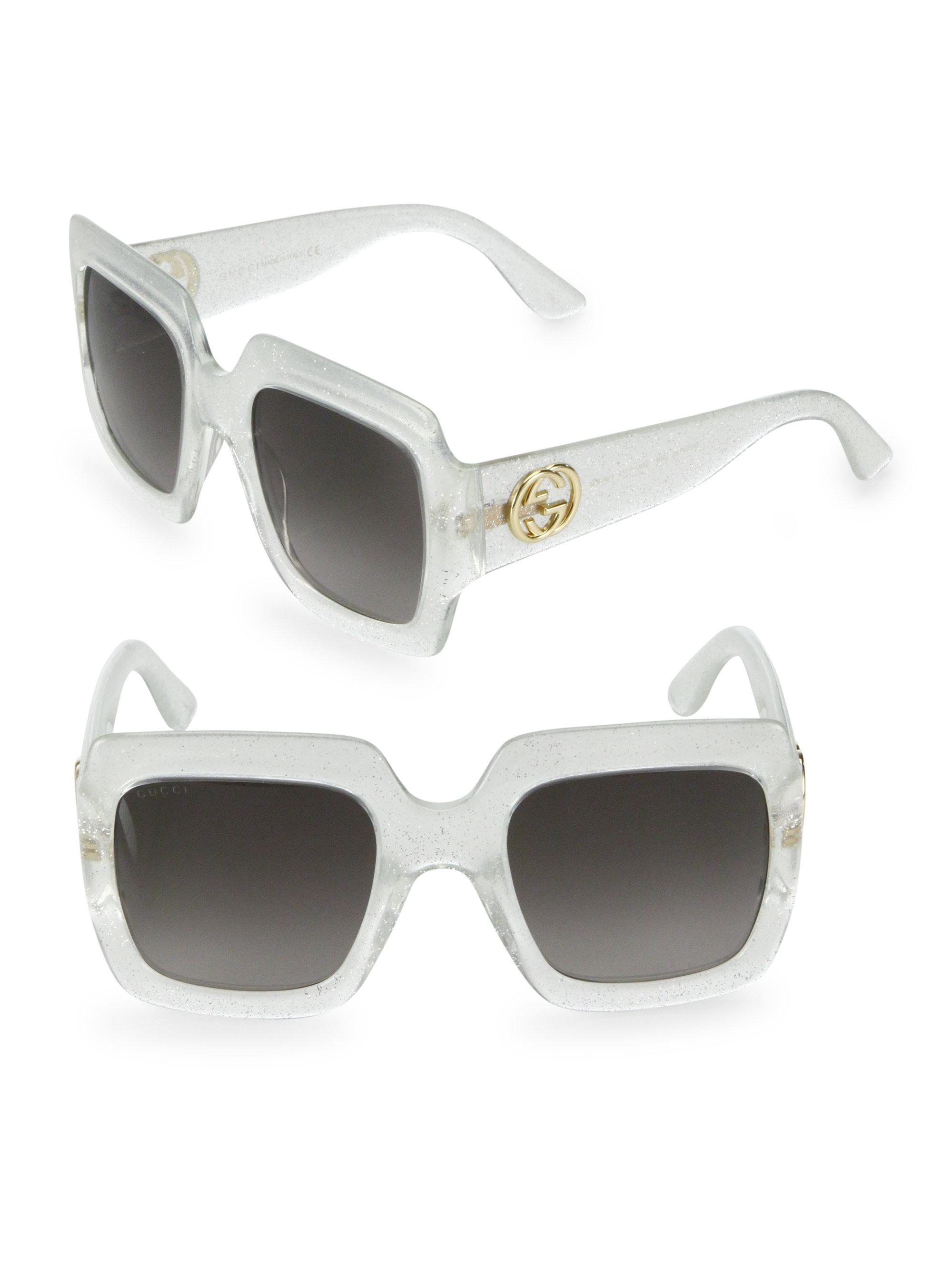 570b0aa1a8 Gucci 54mm Oversized Glitter Square Sunglasses in Metallic - Lyst