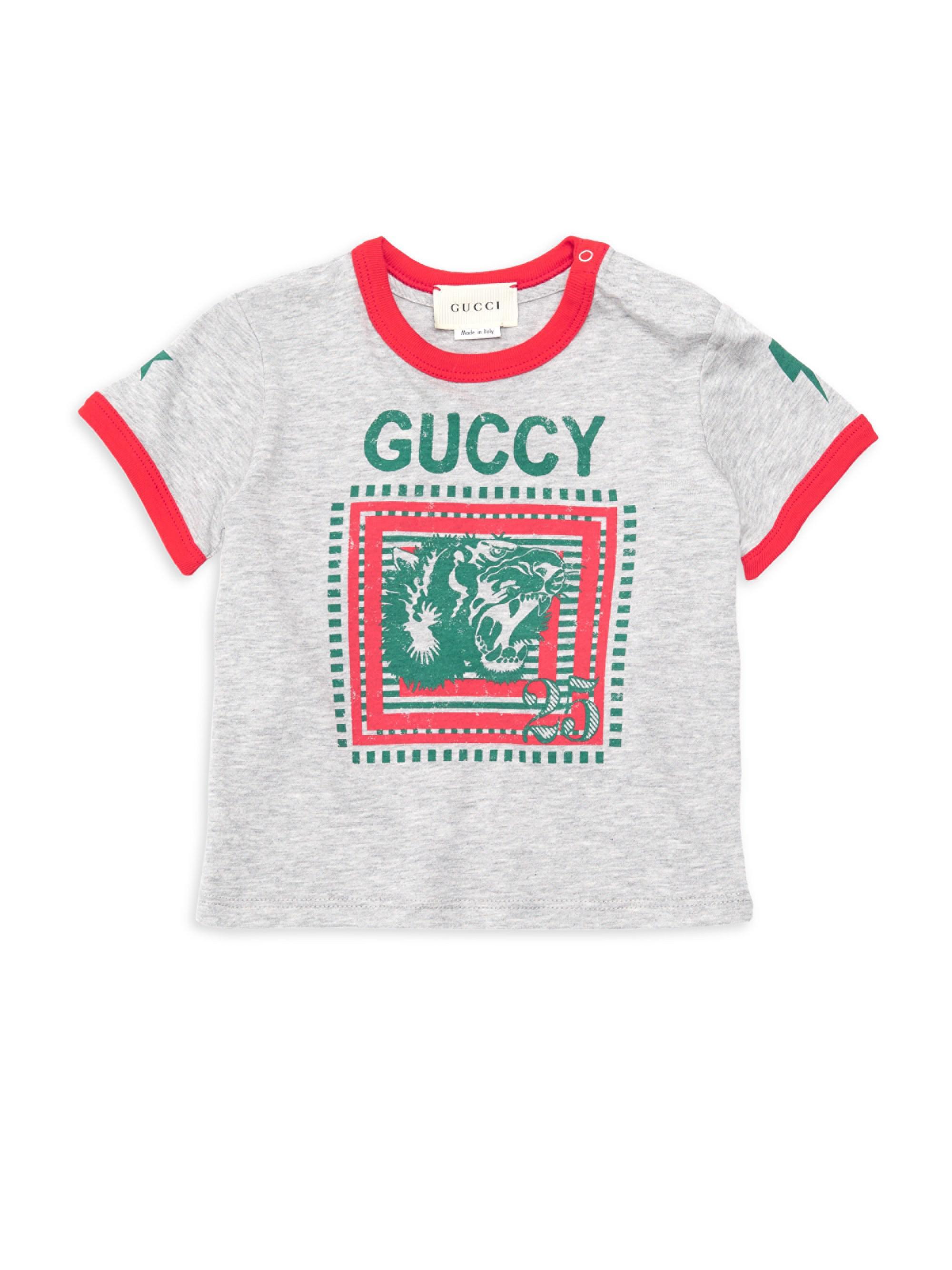 2f0e3061a4a Gucci Baby Boy s Tiger 25 Logo T-shirt in Gray for Men - Lyst