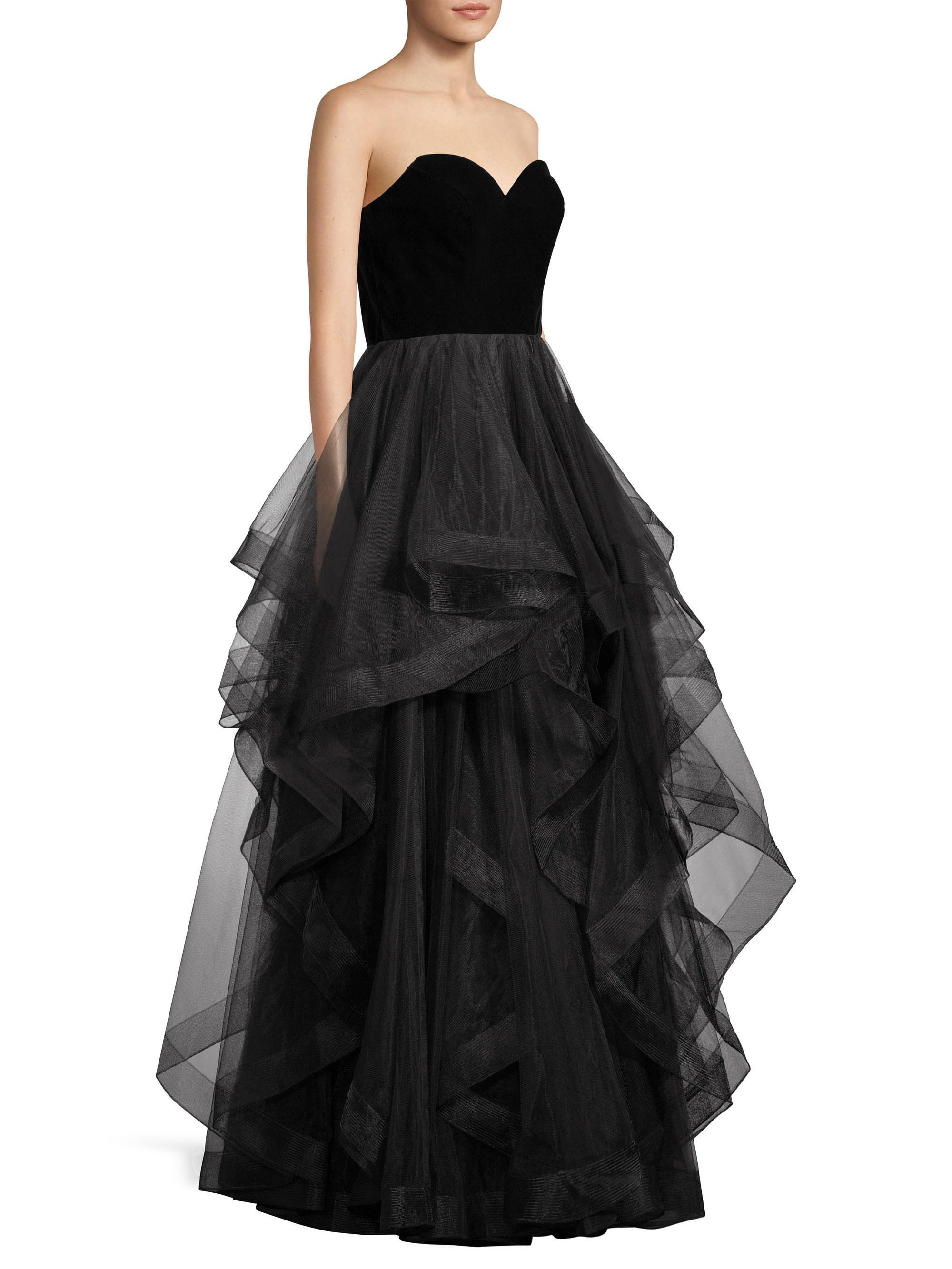 4c8178115ebf Basix Black Label Strapless Velvet Cascade Tulle Gown in Black - Lyst