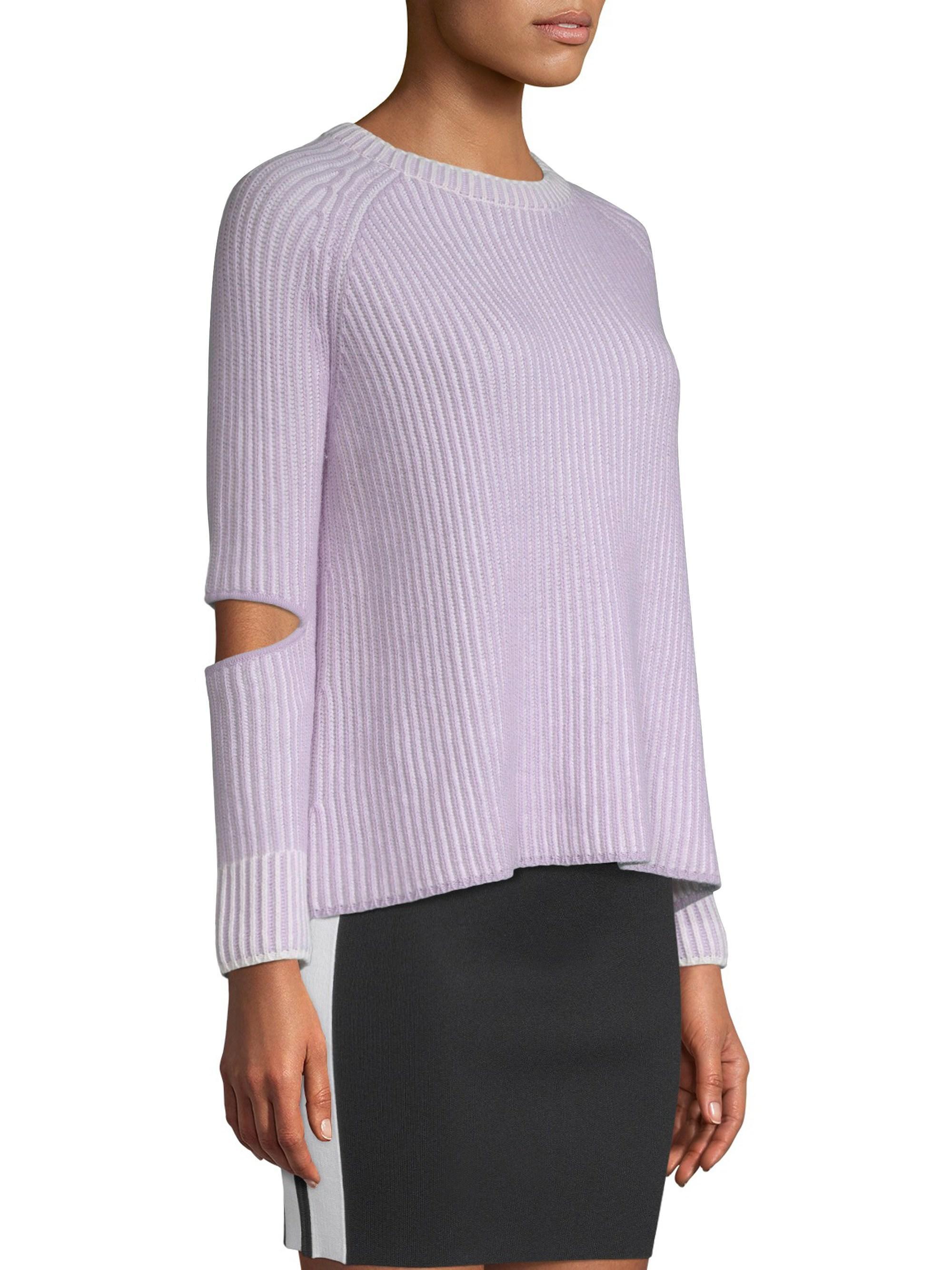 Zoe Jordan Women s Turing Knit Cashmere-wool Sweater - Lilac White ... ffa41020a8