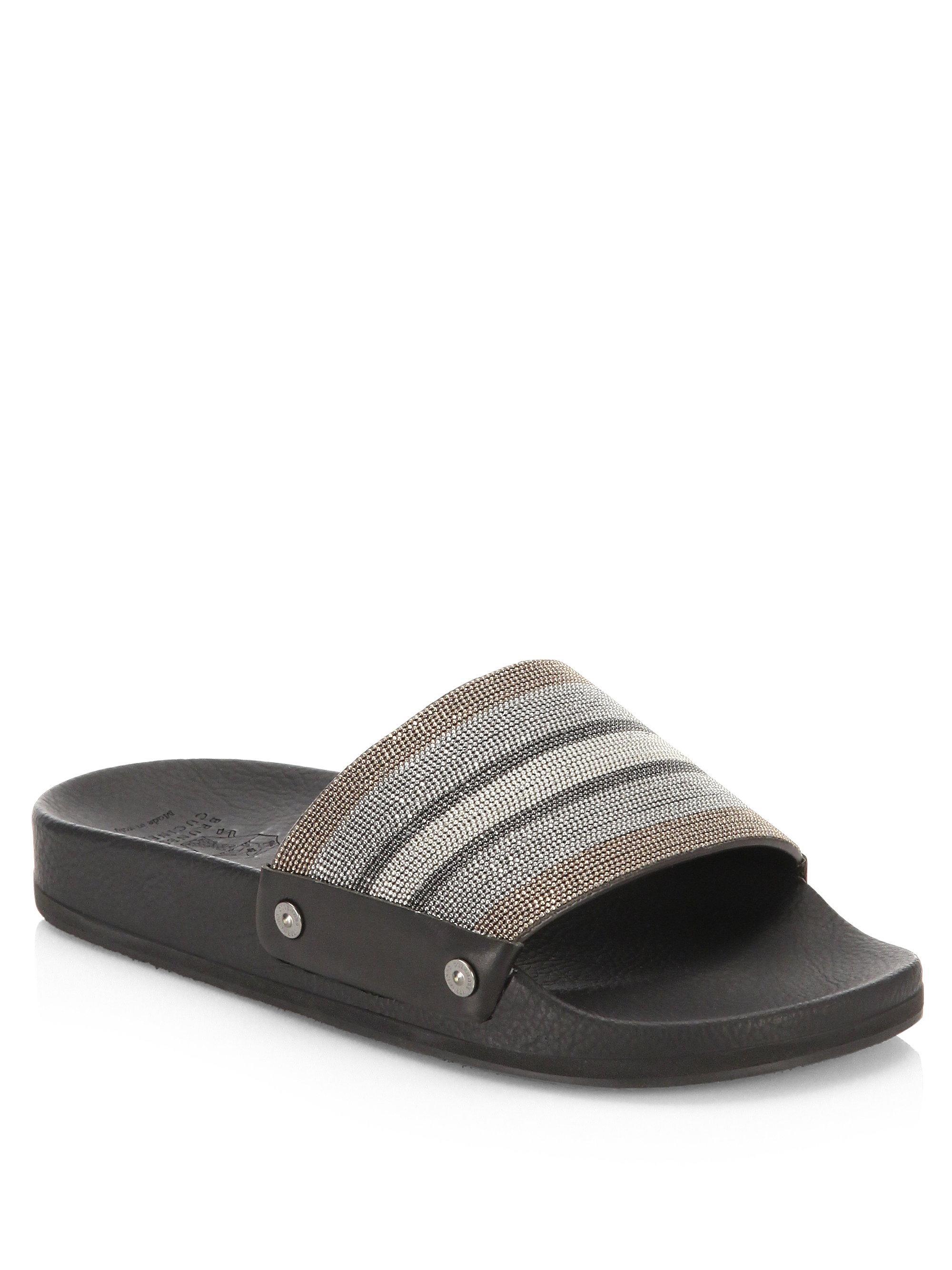 Brunello Cucinelli Embellished Leather Flip-Flops cCdOr