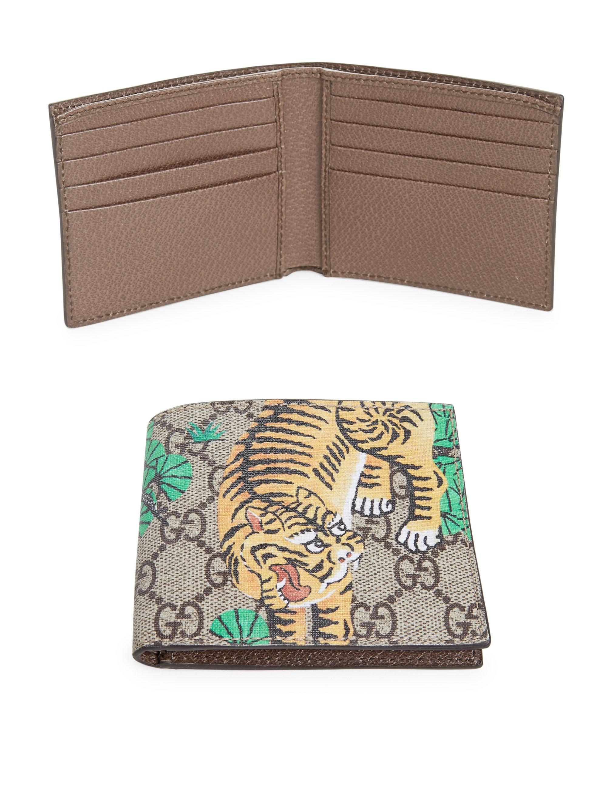 a3727c25743 Lyst - Gucci Gg Supreme Tiger Billfold Wallet in Natural for Men