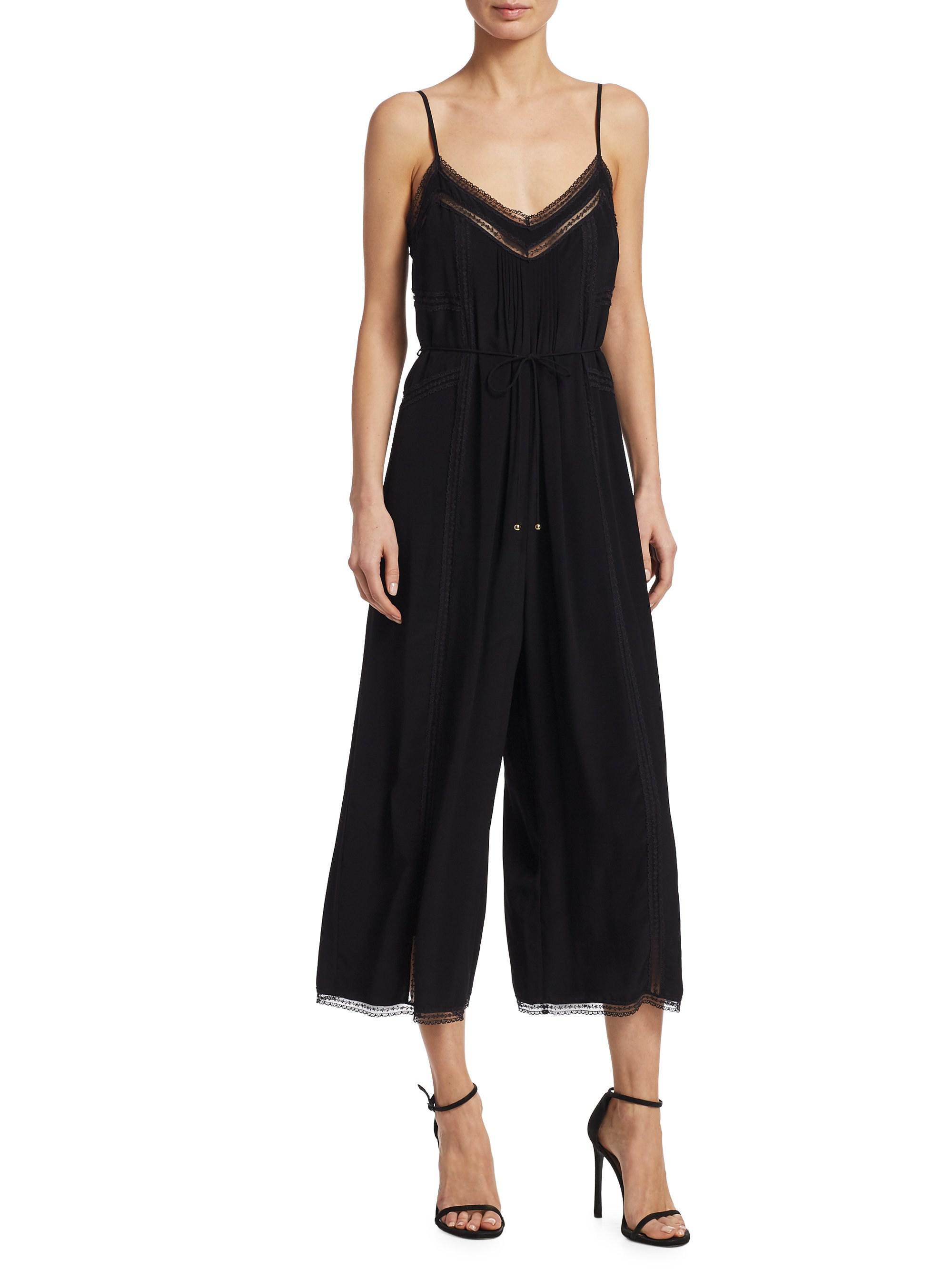 20d5b513d4 Zimmermann Pintuck Wide Leg Cropped Jumpsuit in Black - Lyst