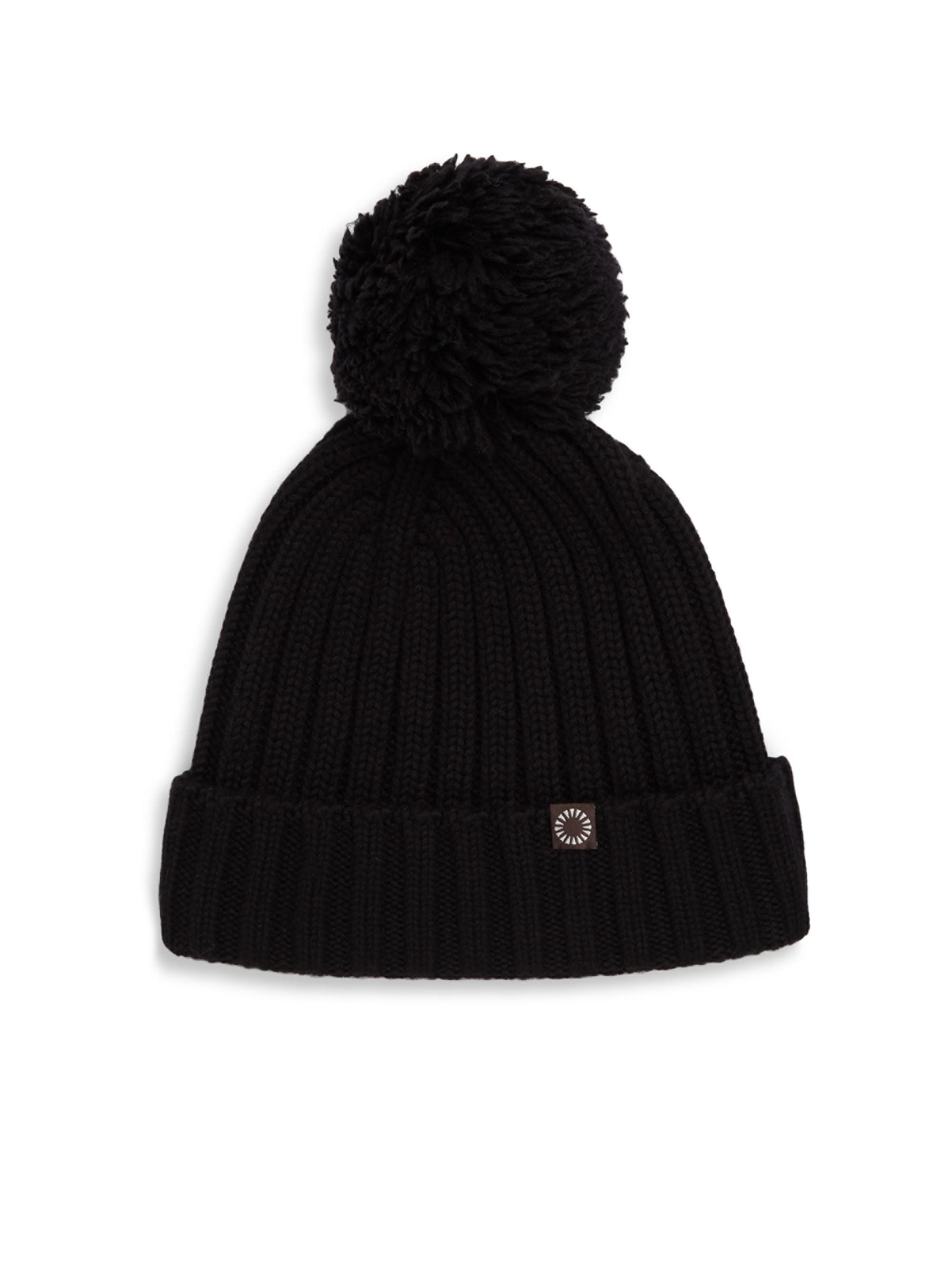 Ugg Ribbed-knit Pom-pom Beanie in Black - Lyst c248d50f4f32