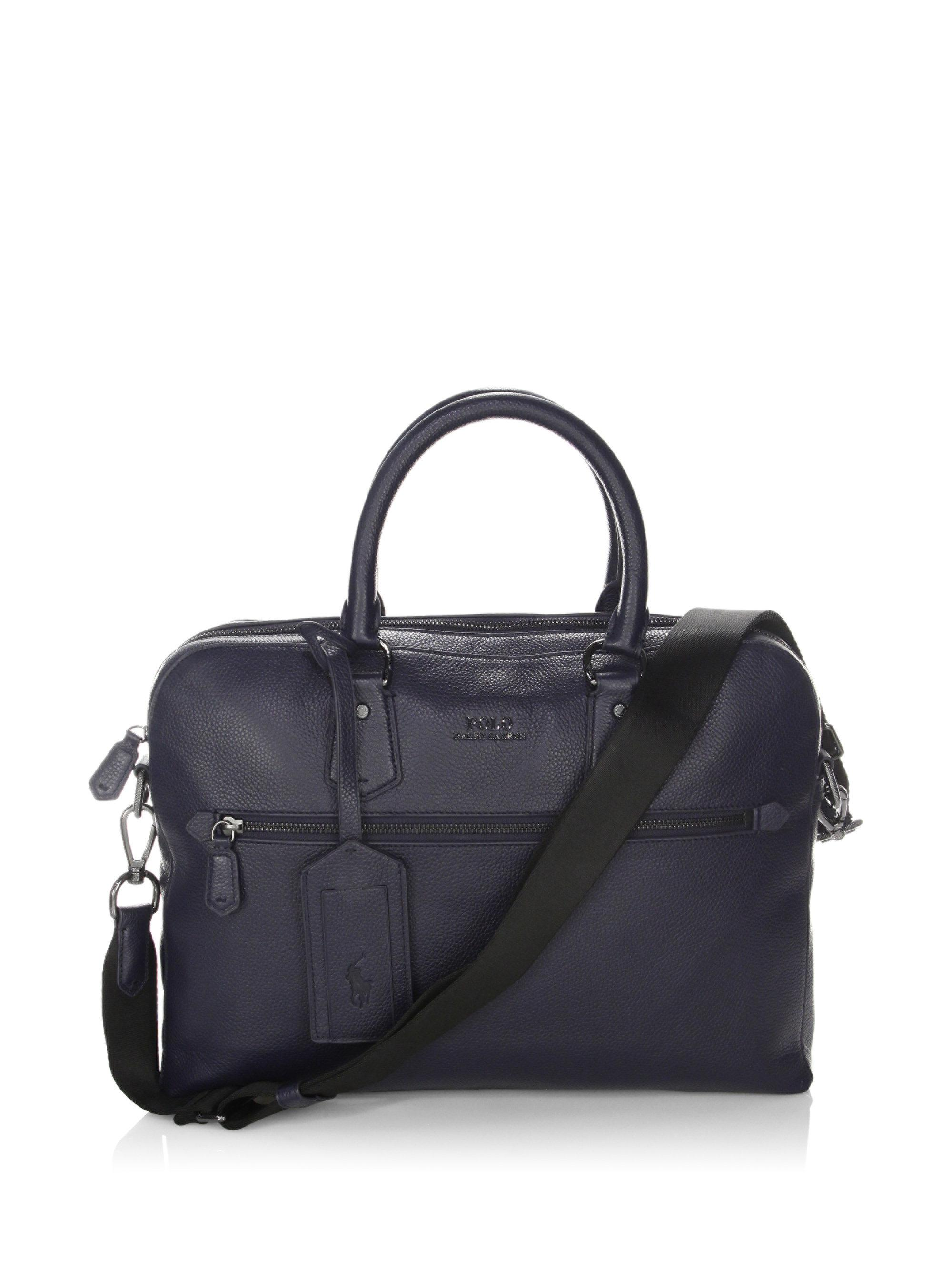 c8fc2fc94724 Lyst - Polo Ralph Lauren Pebbled Leather Commuter Bag in Blue for Men