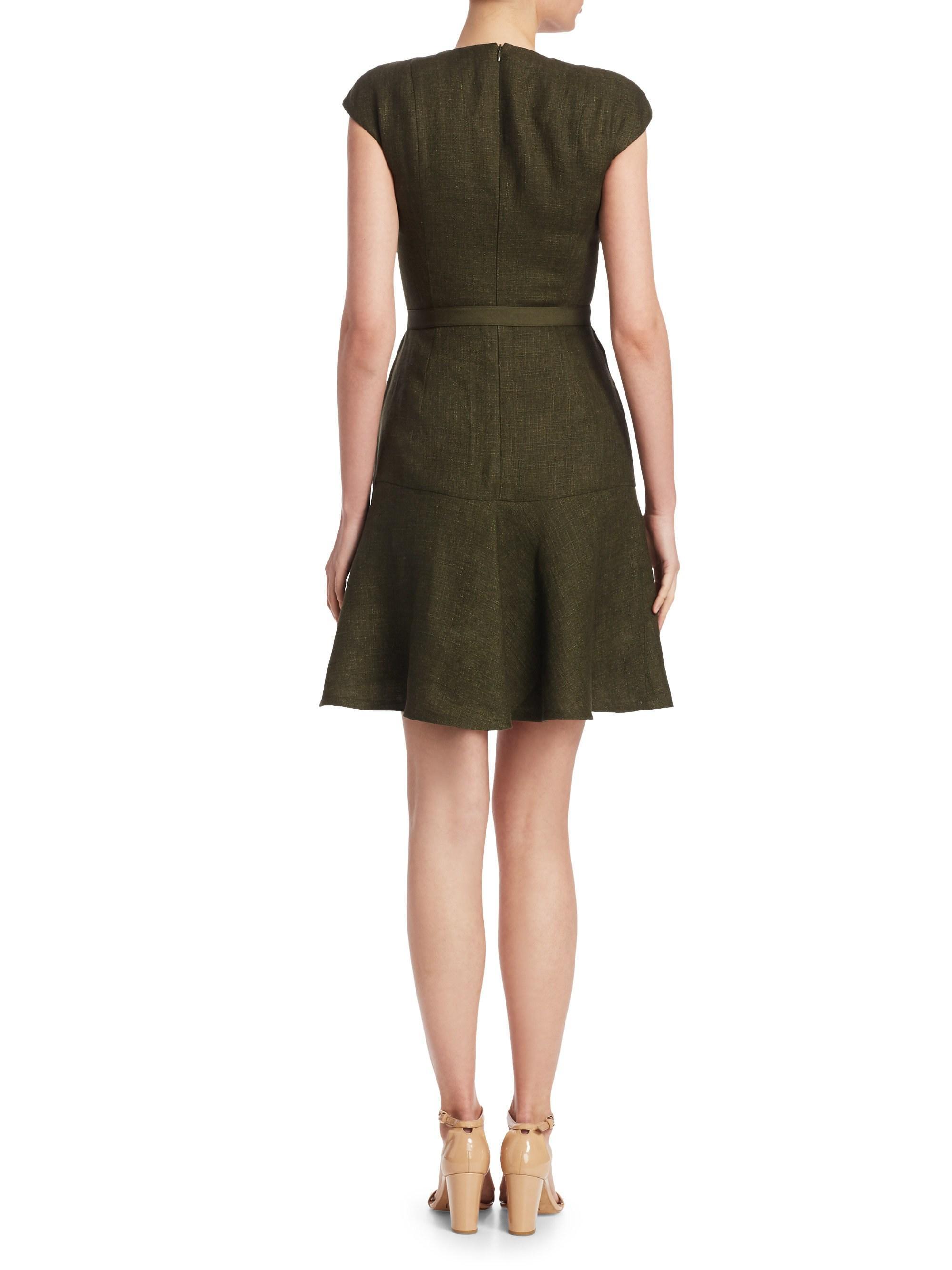 70b6cdc617 Akris Punto Women s Linen Cap-sleeve Dress - Green - Size 12 in ...