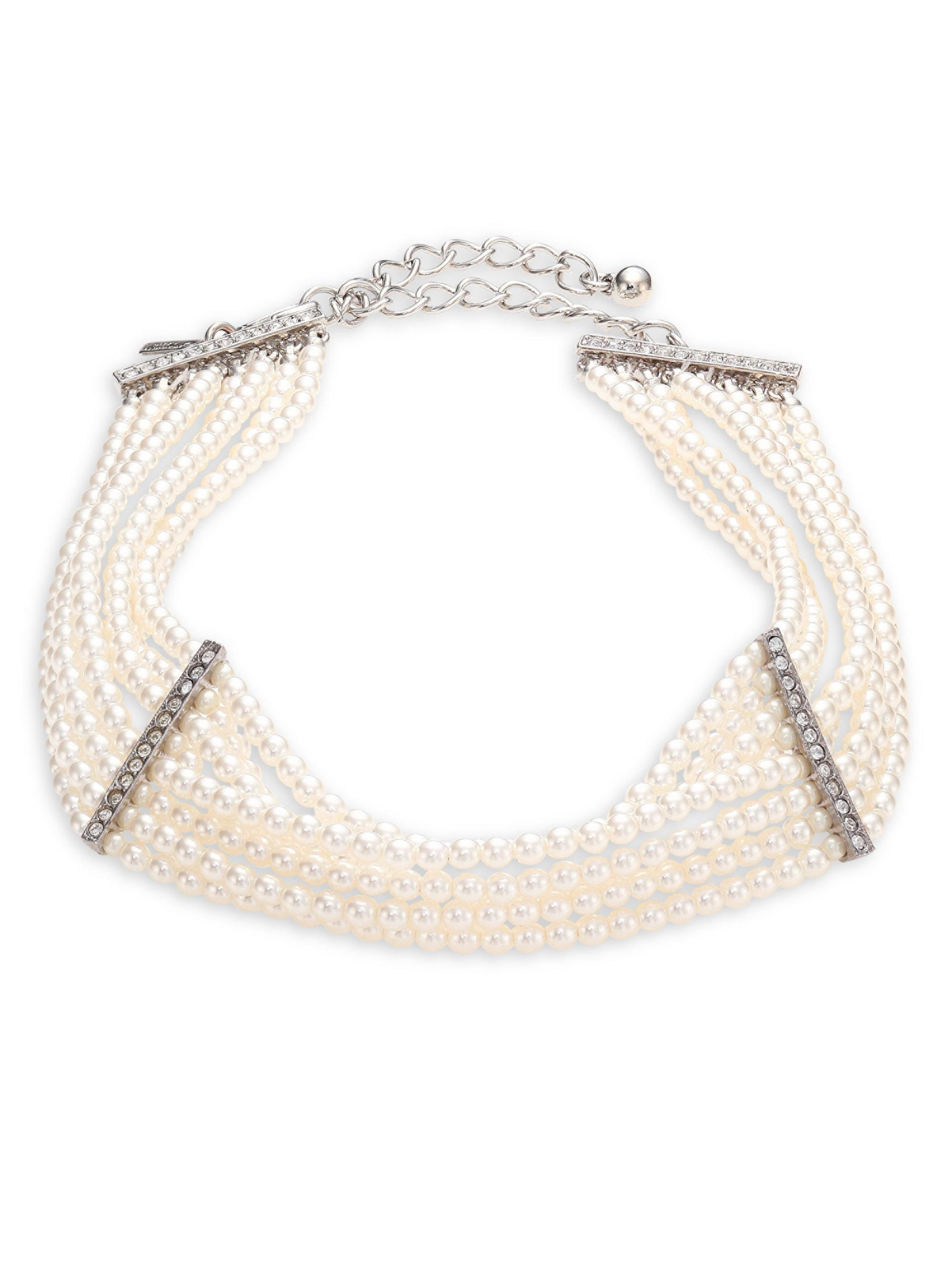 Kenneth Jay Lane 8 Row Silver And Crystal Choker Necklace Pearl 9fleB