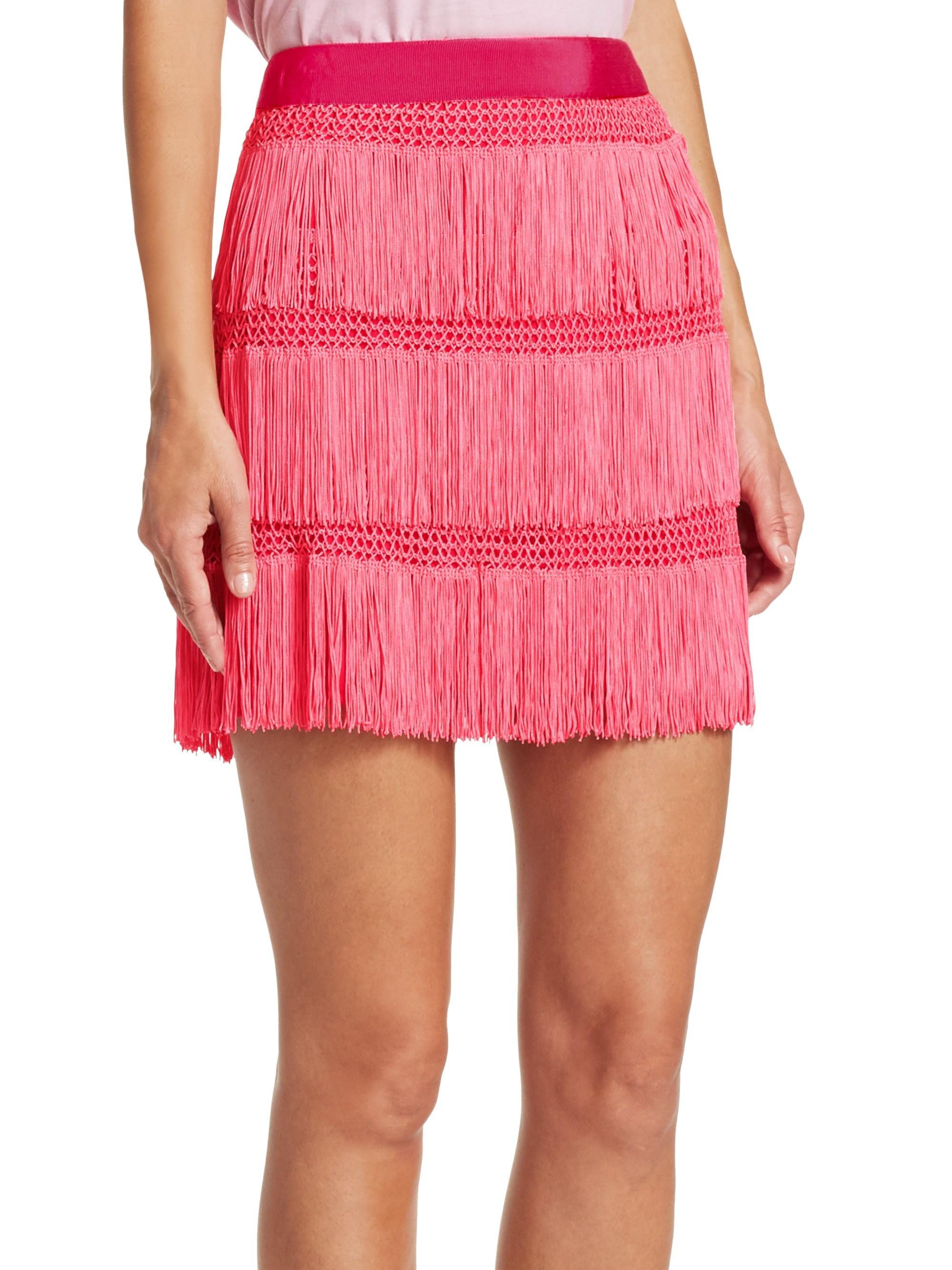 c8f7703106 Lyst - Alberta Ferretti Women's Fringe Skirt - Pink - Size 48 (14) in Pink