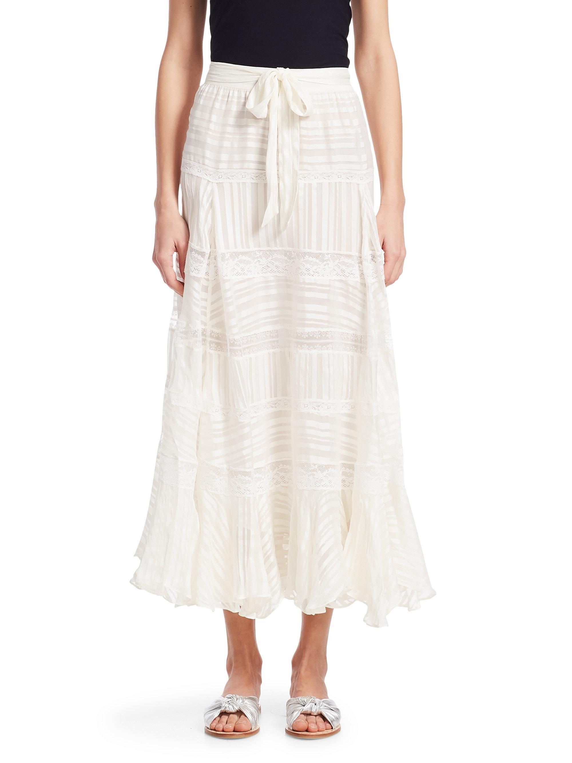 08b5b9902 Zimmermann Whitewave Veil Silk Midi Skirt in White - Lyst
