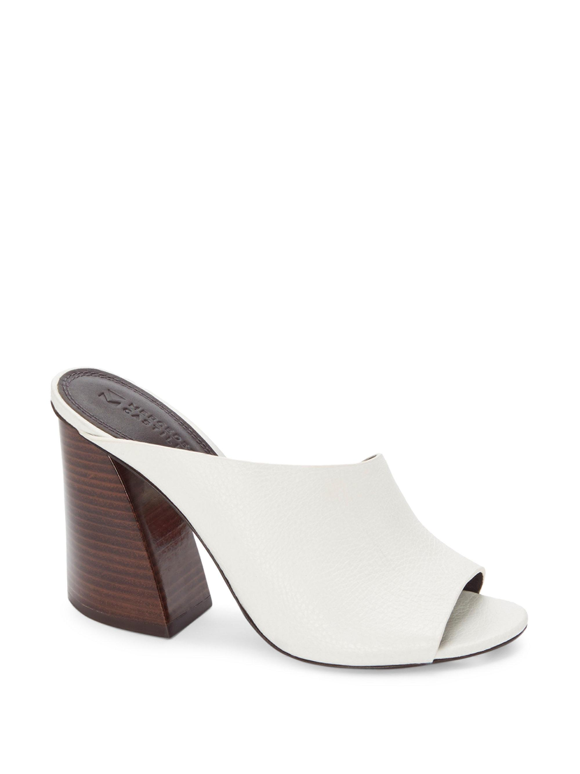 Mercedes Castillo Stacked Heel Leather Mules