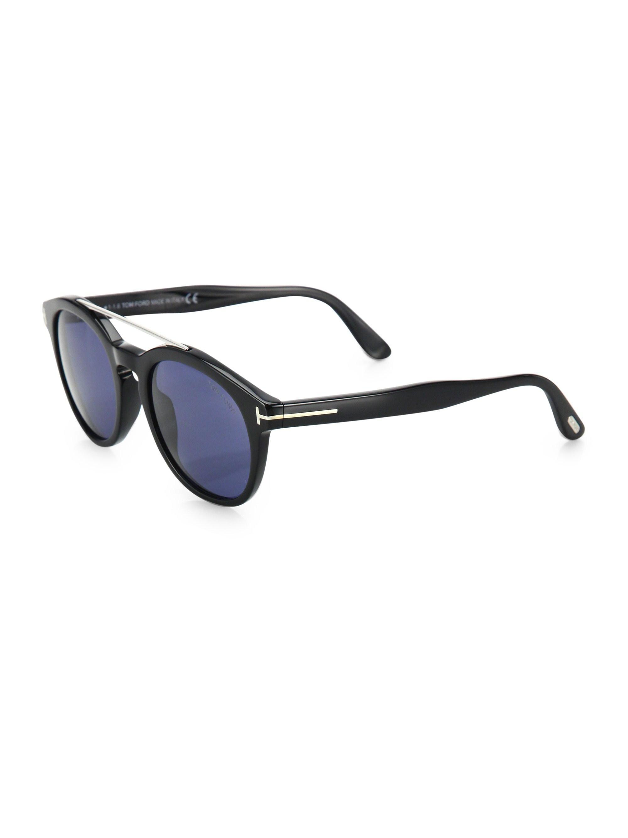 eeb51a1cea8 Tom Ford - Blue Newman 53mm Round Sunglasses for Men - Lyst. View fullscreen