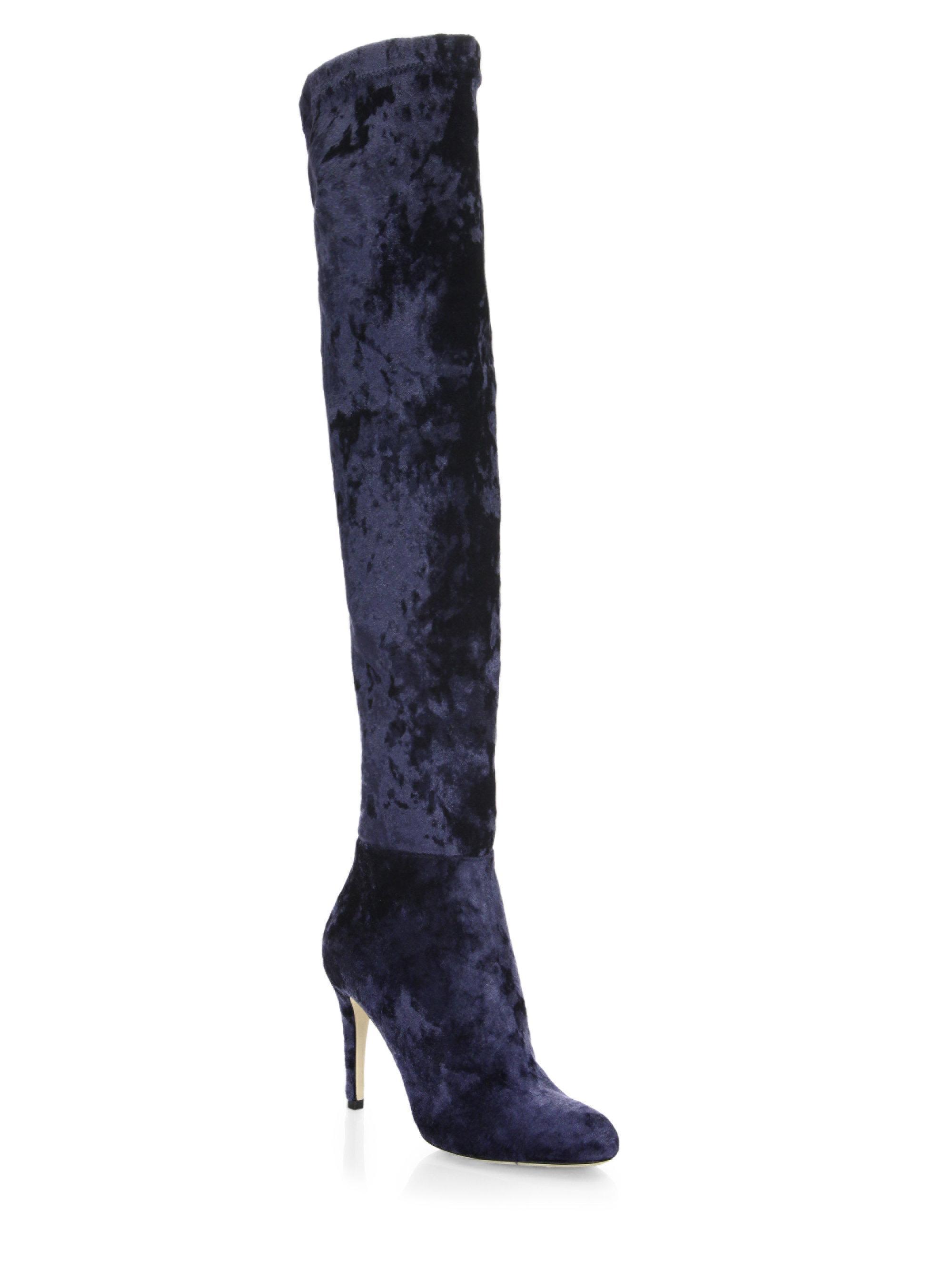 e5d40d8bbc9 Lyst - Jimmy Choo Toni 90 Velvet Over-the-knee Boots in Blue