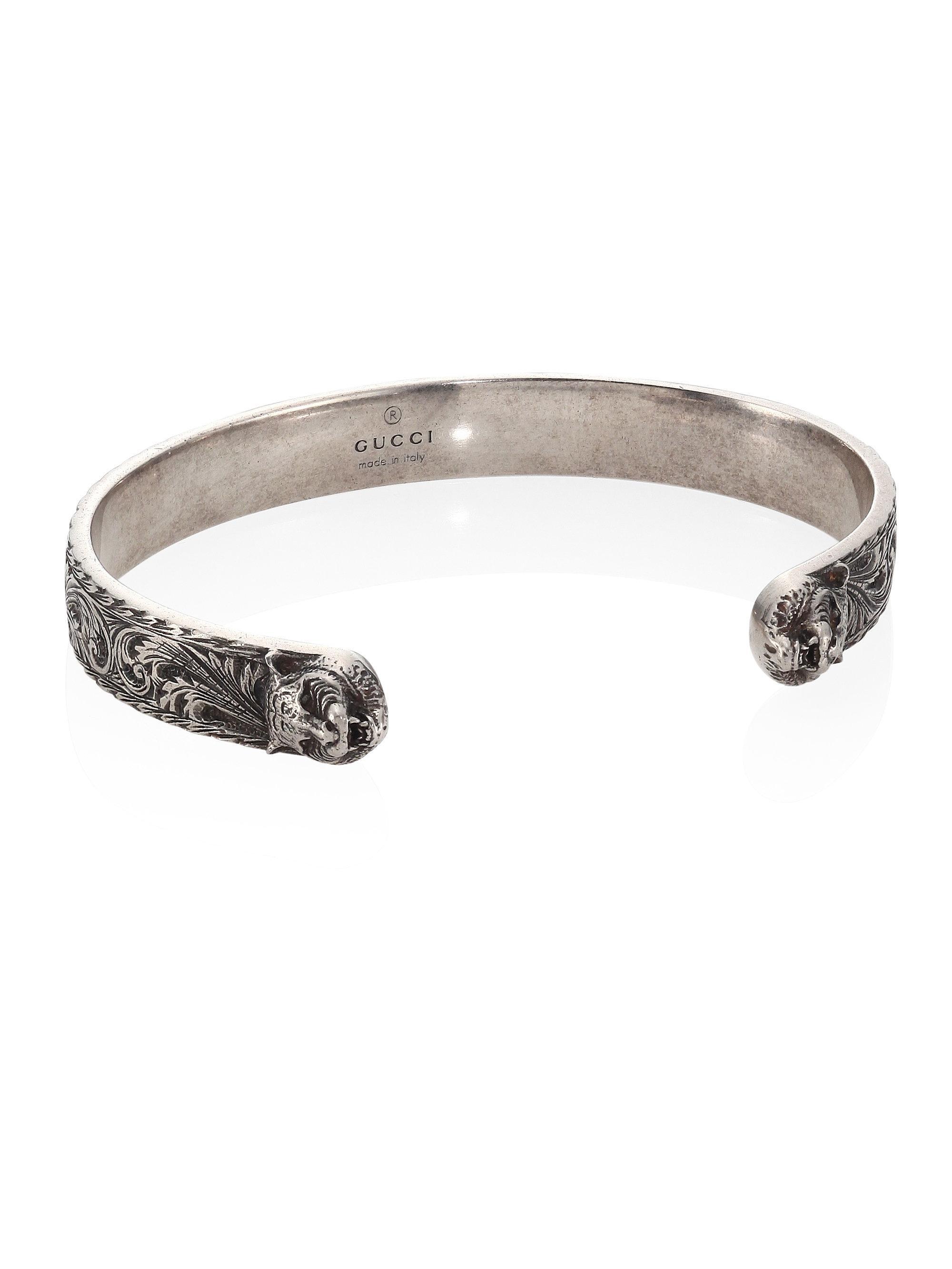 806b15fae Gucci Sterling Silver Cuff Bangle in Metallic for Men - Lyst