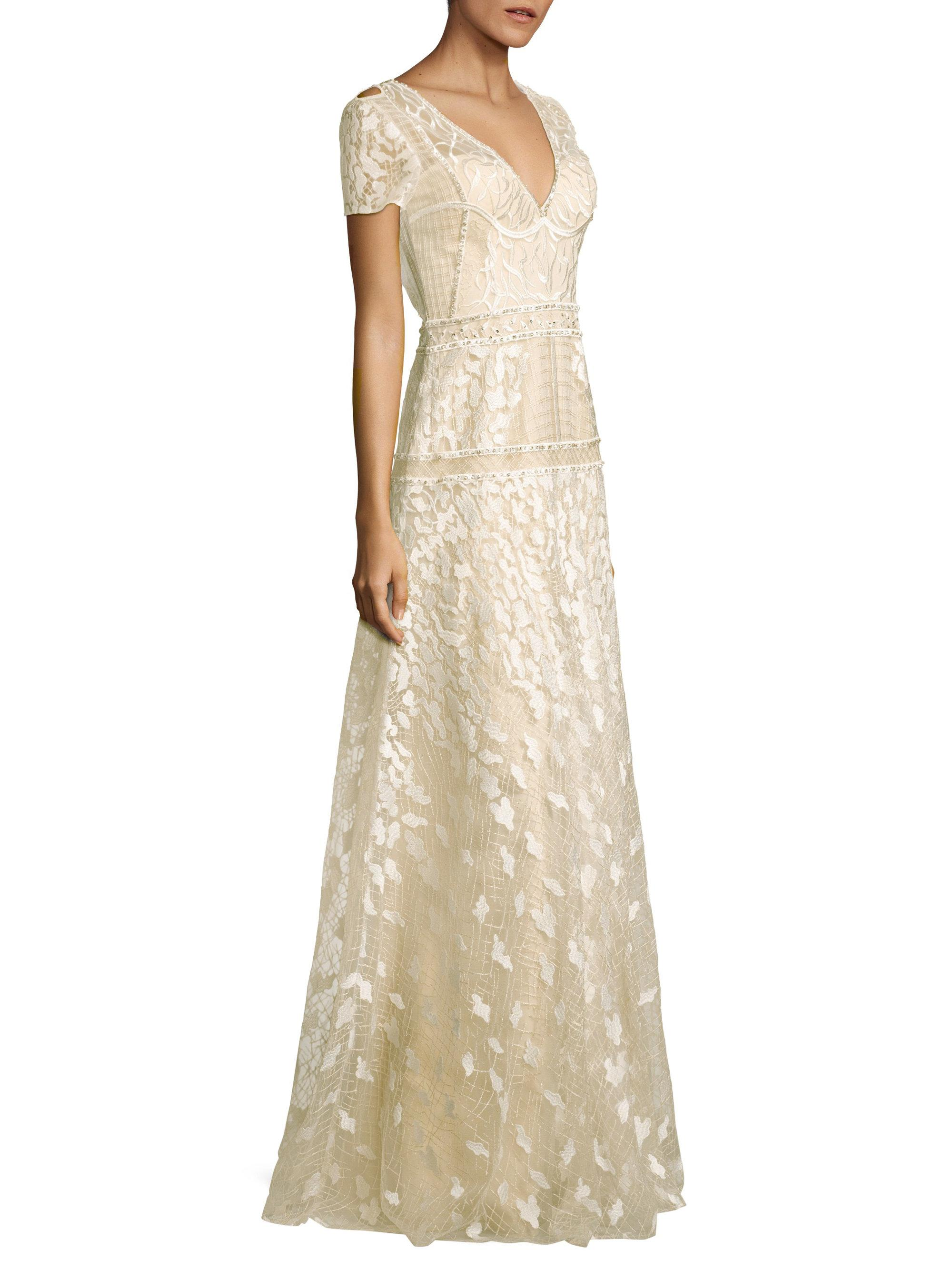 Basix Black Label. Women's White Danah Embroidered Gown
