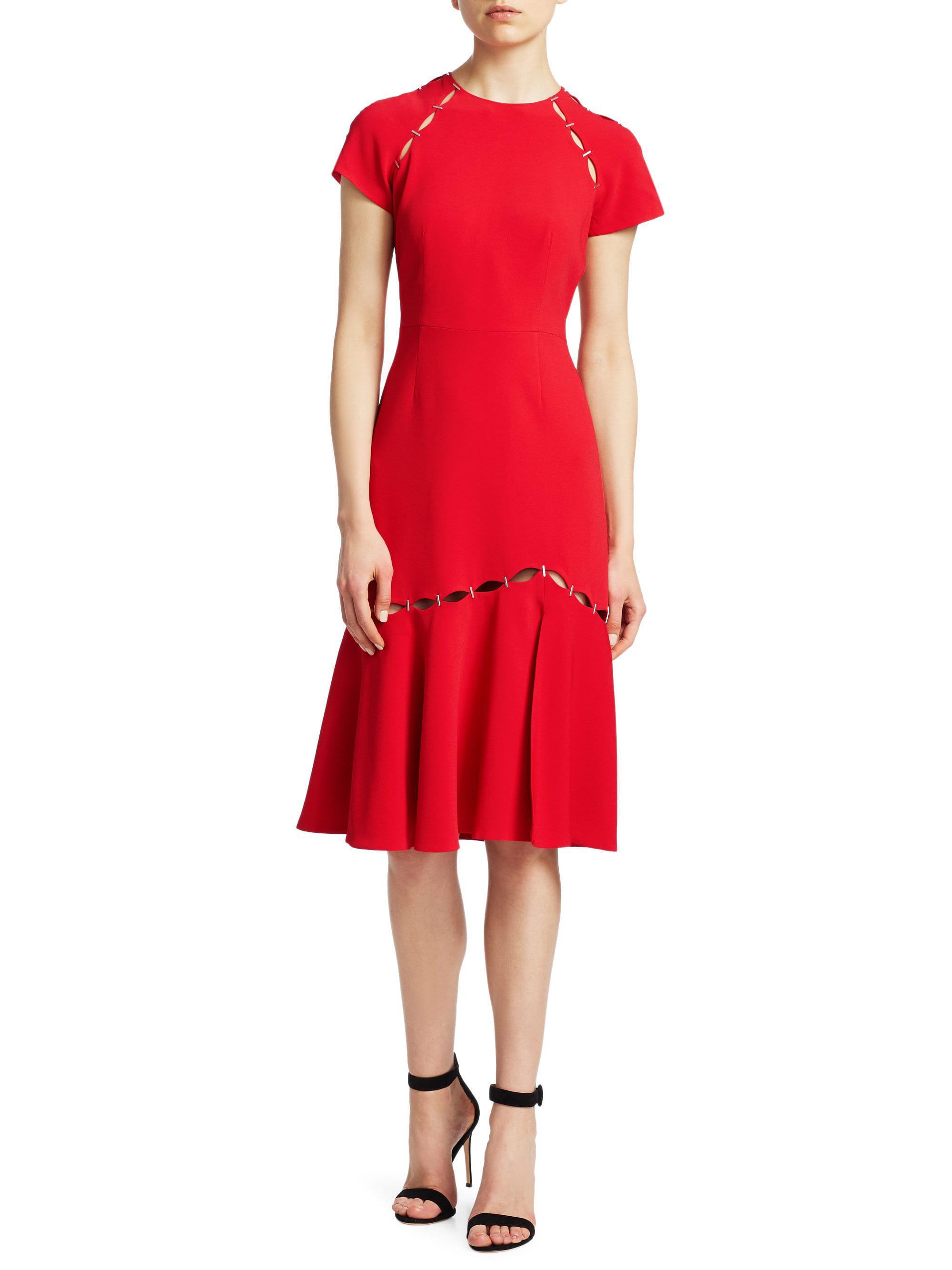 afd422ab Jonathan Simkhai Cut-out Flounce Hem Sheath Dress in Red - Lyst