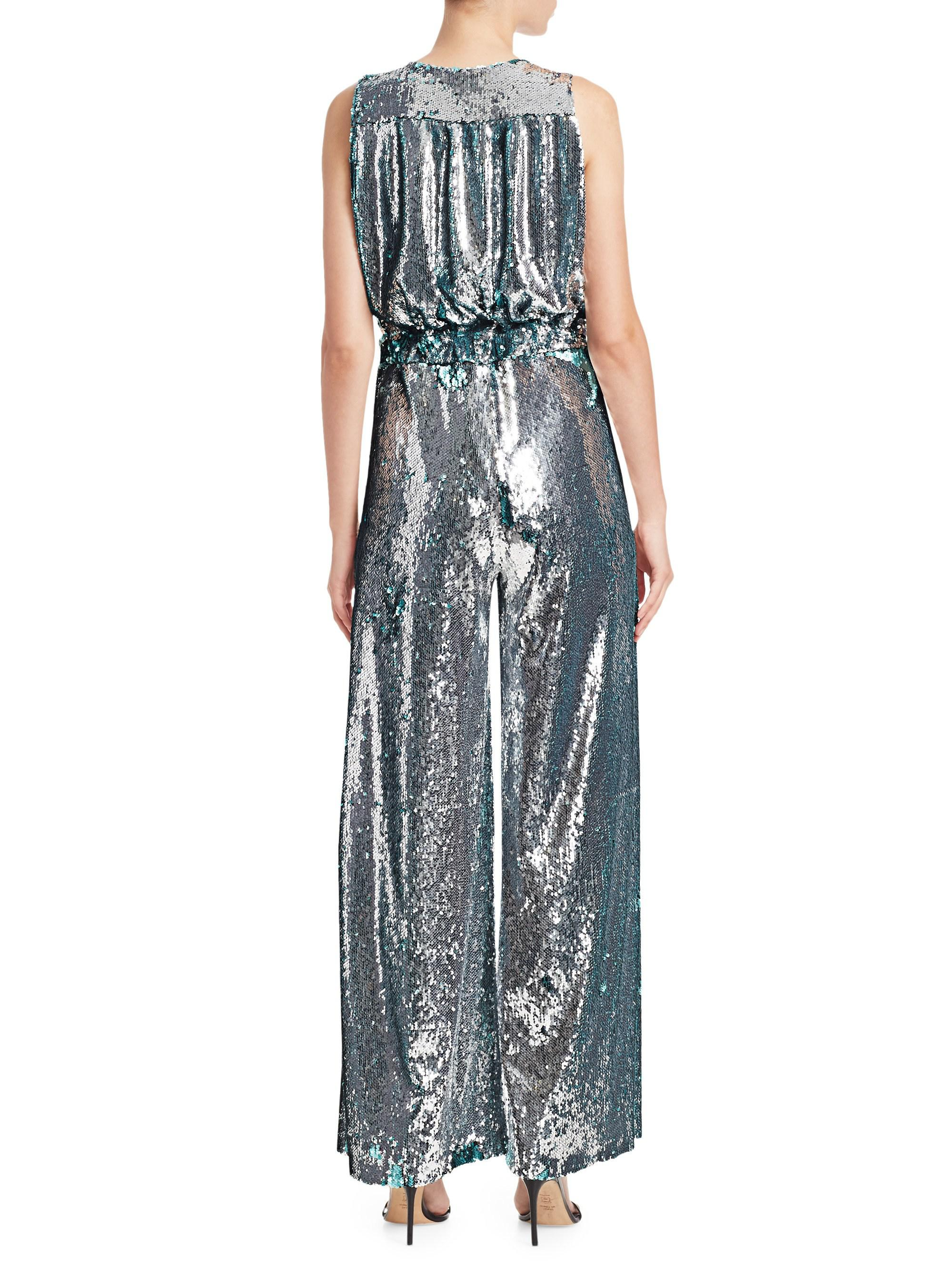 b3bccb1fabdc Carolina Ritzler Sleeveless Sequin Jumpsuit - Lyst