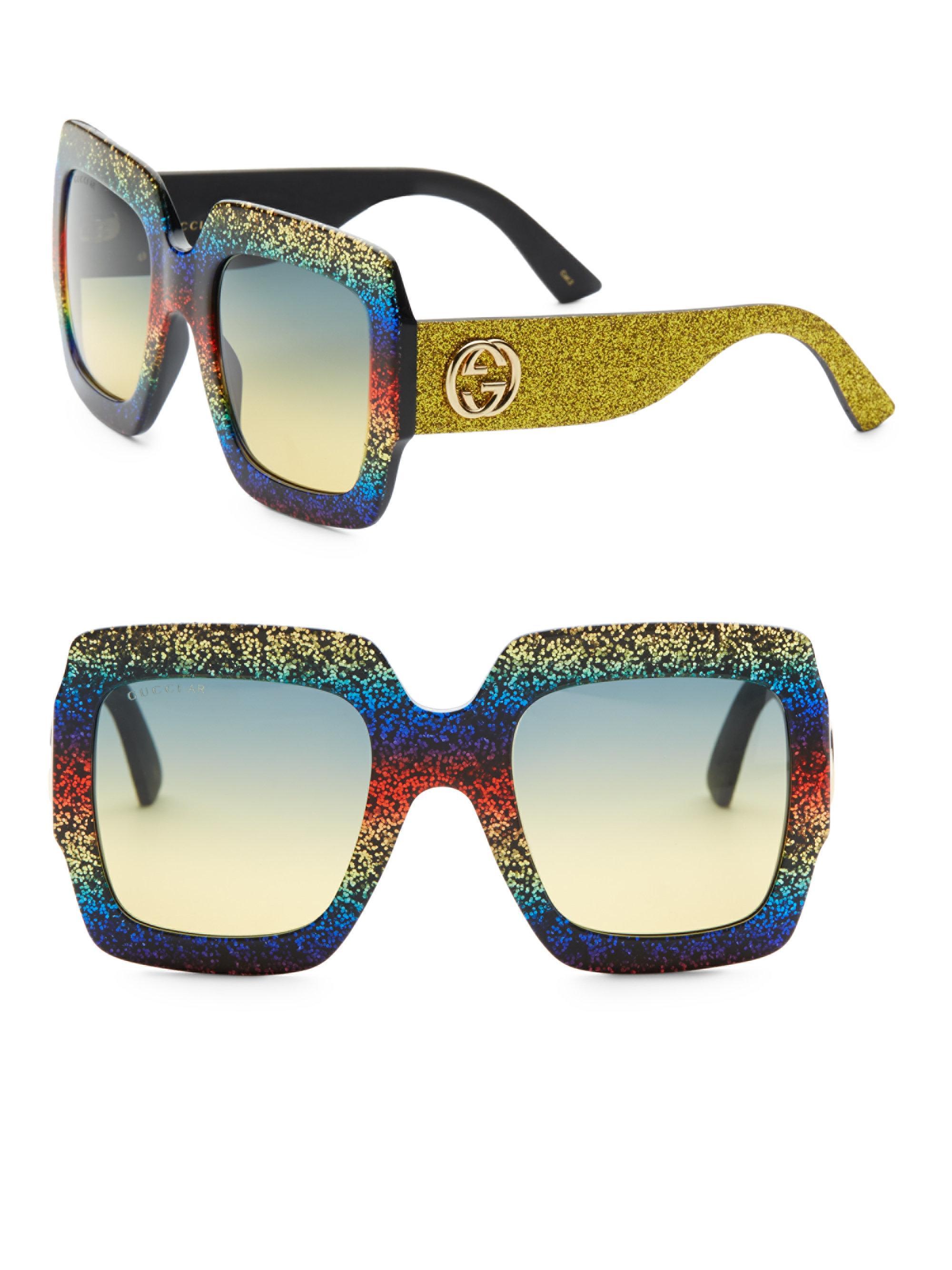 2bcef1dfb218f Gucci 54mm Glitter Stripe Square Sunglasses - Lyst