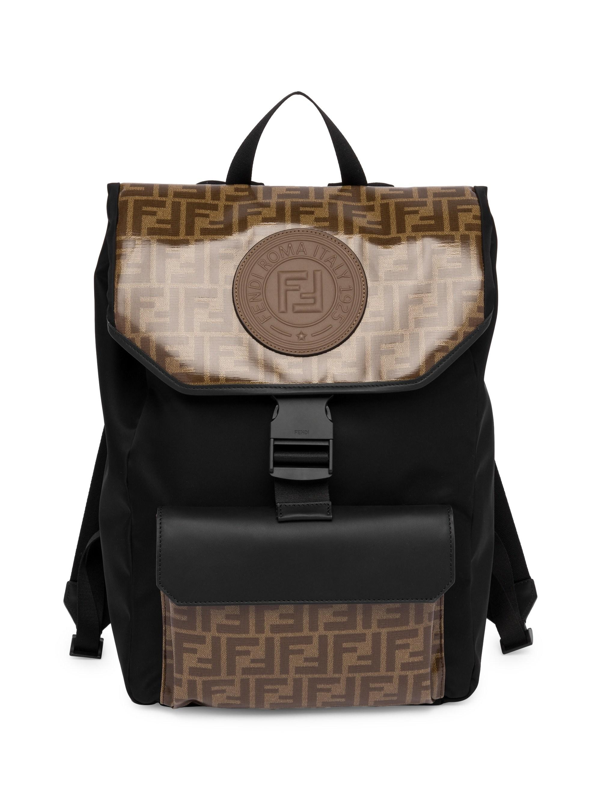 90ec77df1294 Lyst - Fendi Men s Ff Vetrificato Contrast Print Backpack - Brown in Brown  for Men