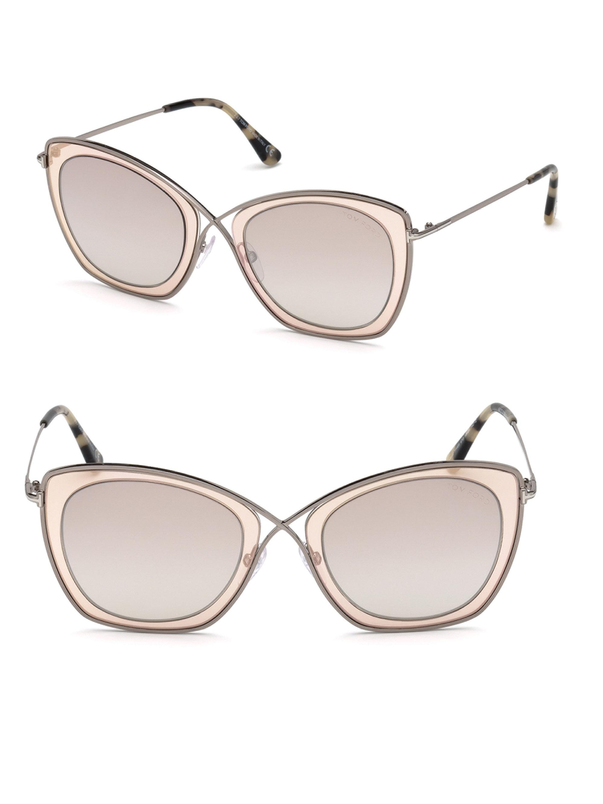a771ec6d96 Lyst - Tom Ford 0605 India Rectangle Sunglasses in Brown