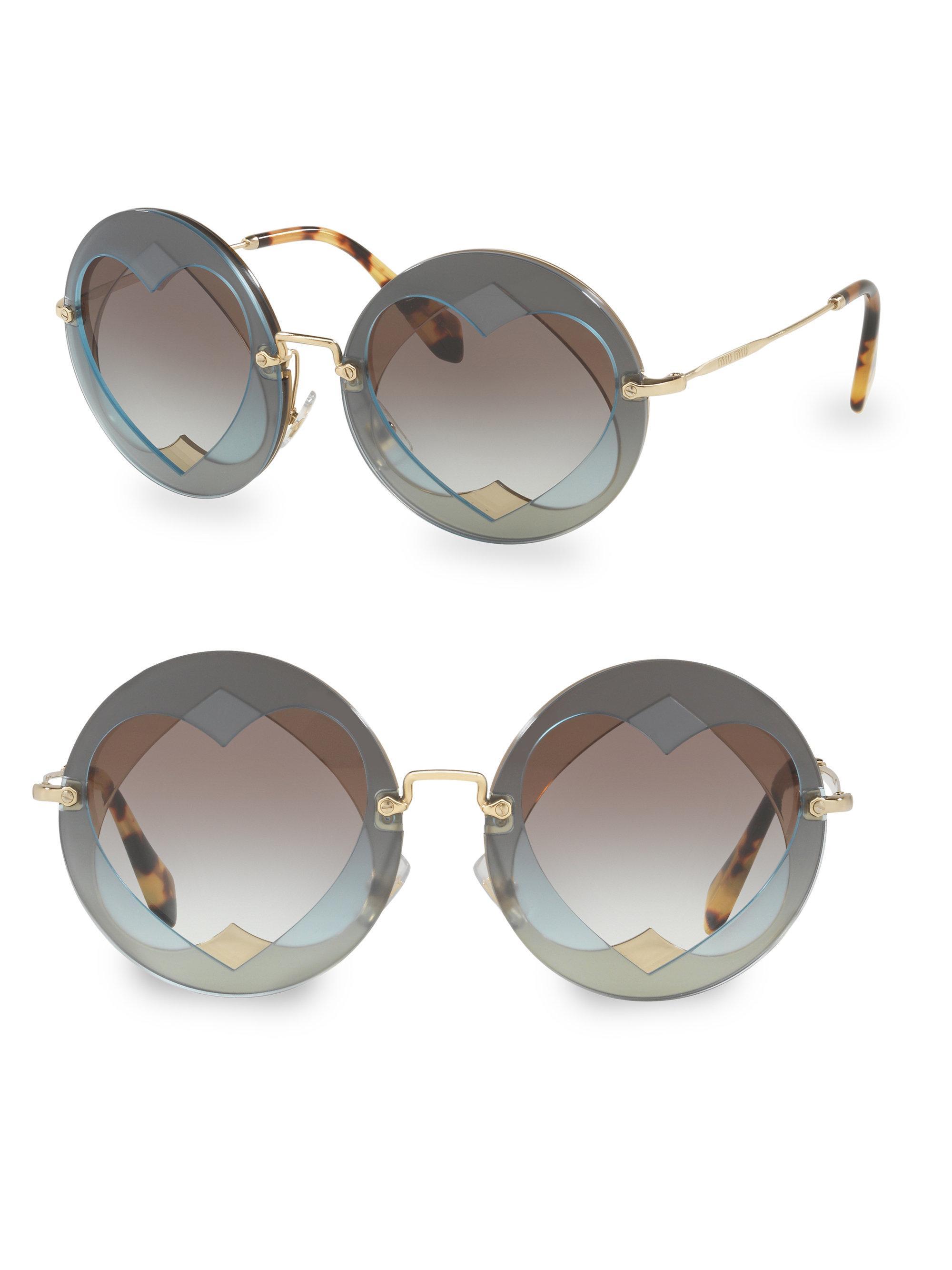 8373ec324091d Lyst - Miu miu Injected Woman  39 s 62mm Round Sunglasses ...