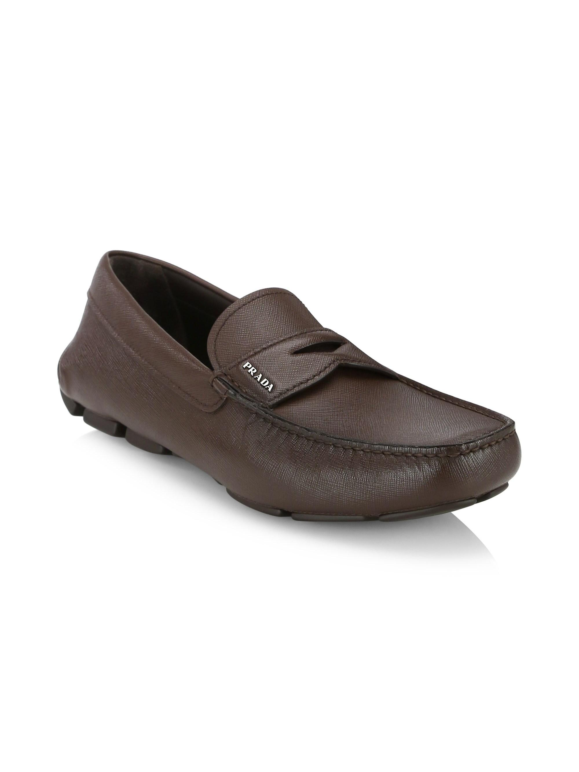962dc378650 Lyst - Prada Saffiano Leather Driver Loafers in Brown for Men
