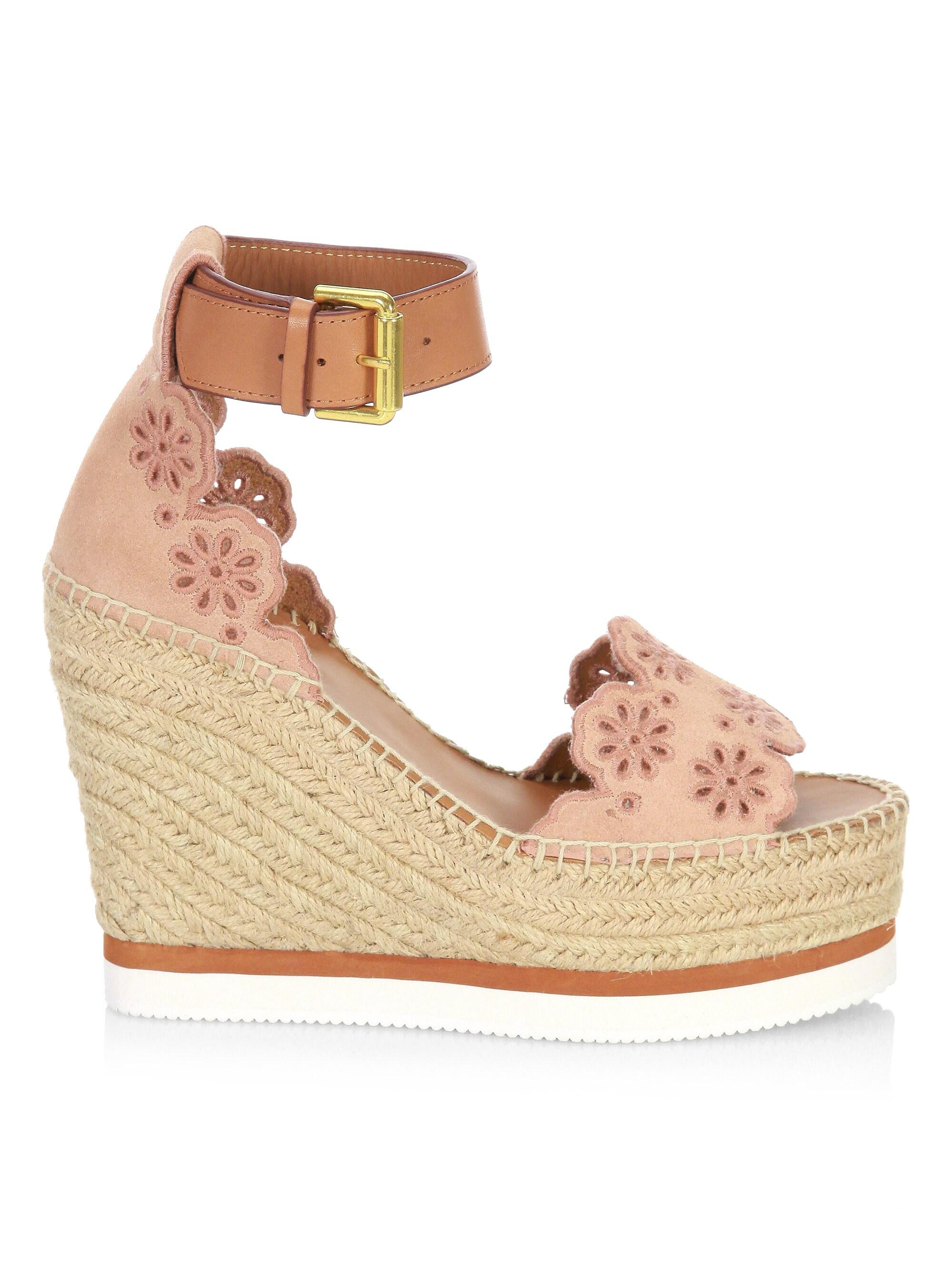 d65c5d6cd See By Chloé Laser Cut Suede Wedge Espadrilles in Natural - Lyst