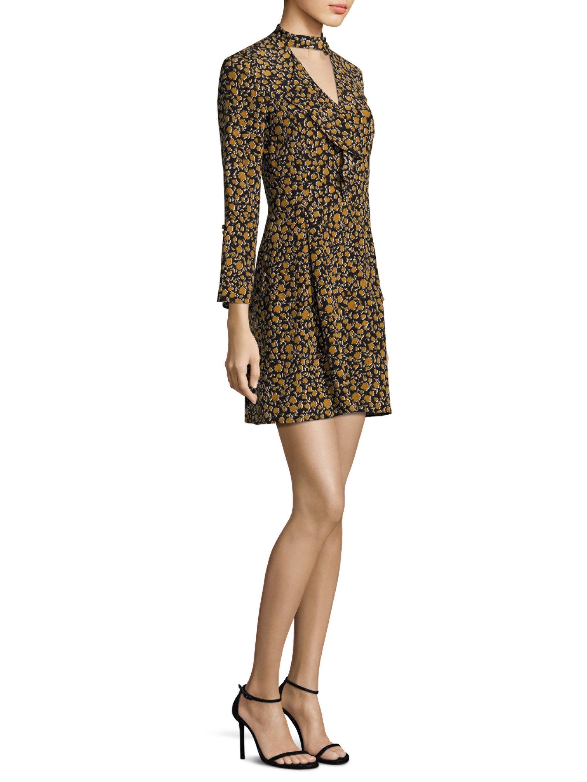 8be7ac35bd8955 Lyst - 10 Crosby Derek Lam Floral Cascade Bell-sleeve Silk Choker Dress