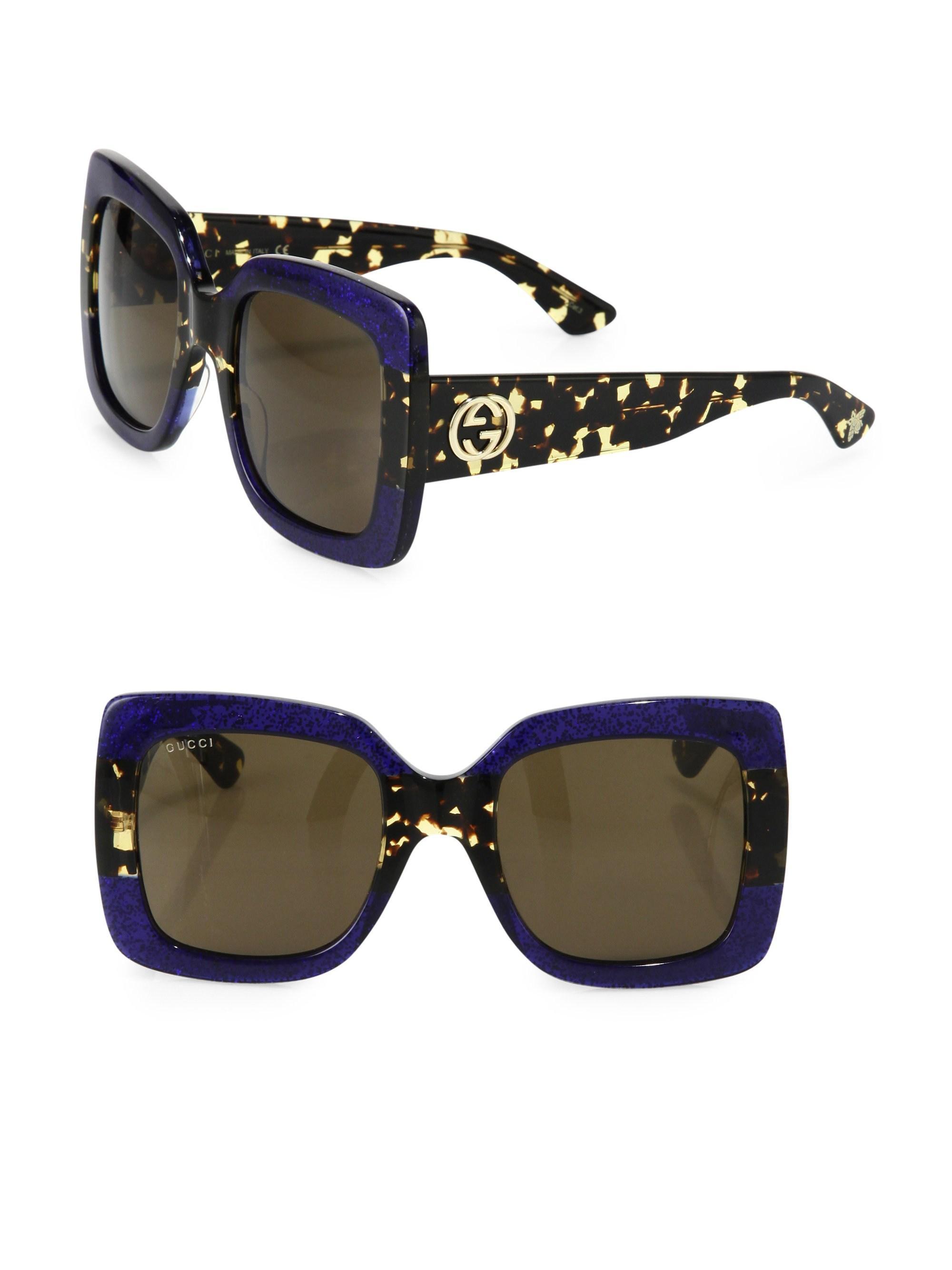 2de2d7bf3144 Gucci 54mm Oversized Square Colorblock Sunglasses in Blue - Lyst