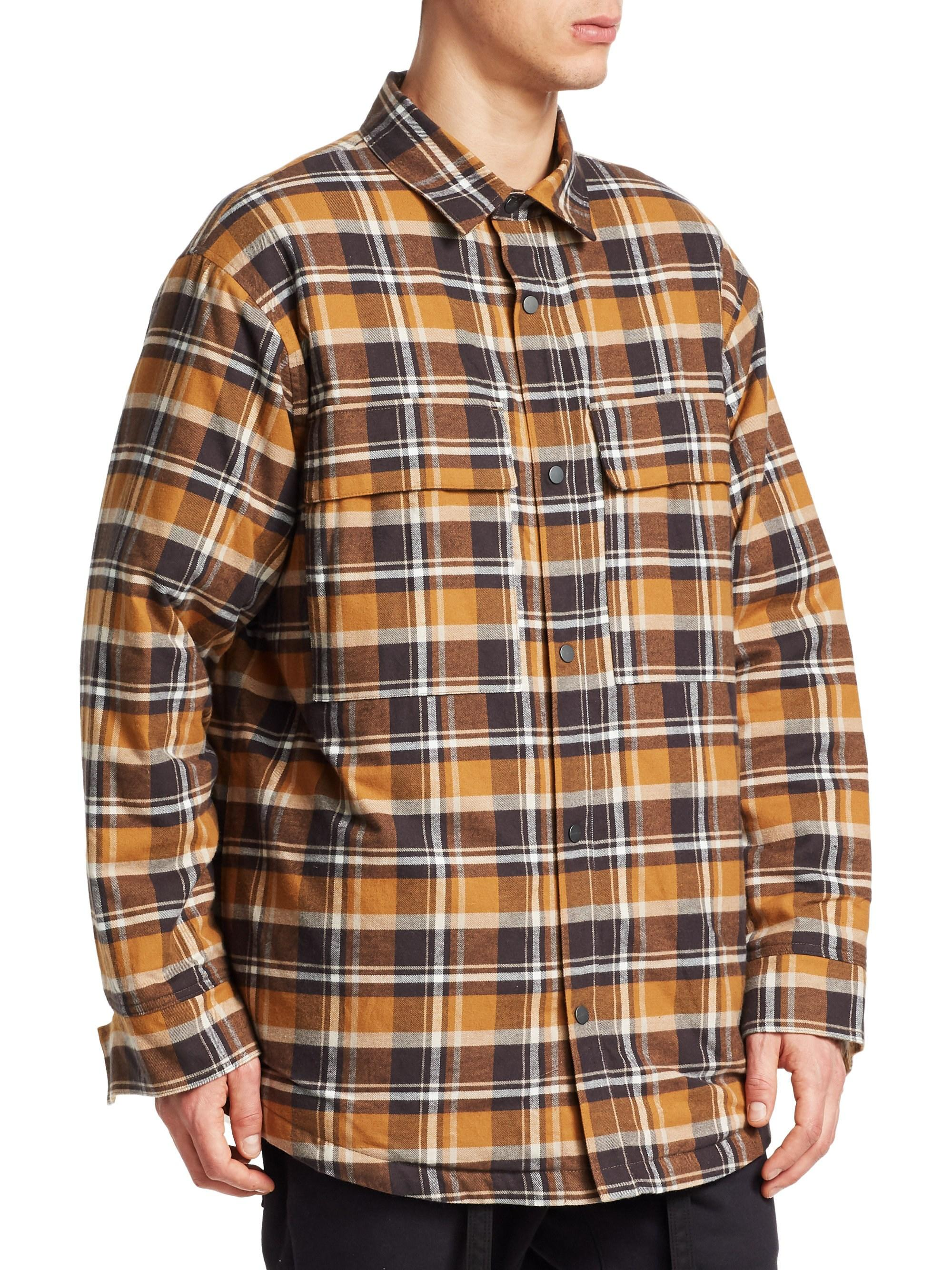 8fe056505b Lyst - Fear Of God Men s Flannet Shirt Jacket - Brown Plaid - Size Small in  Brown for Men