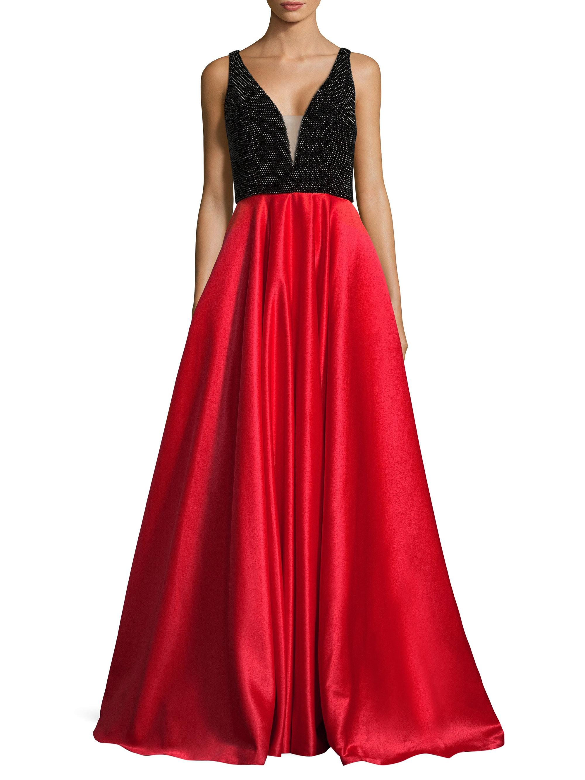 e1c3f020db3 Basix Black Label Pearl Top A-line Gown in Red - Lyst