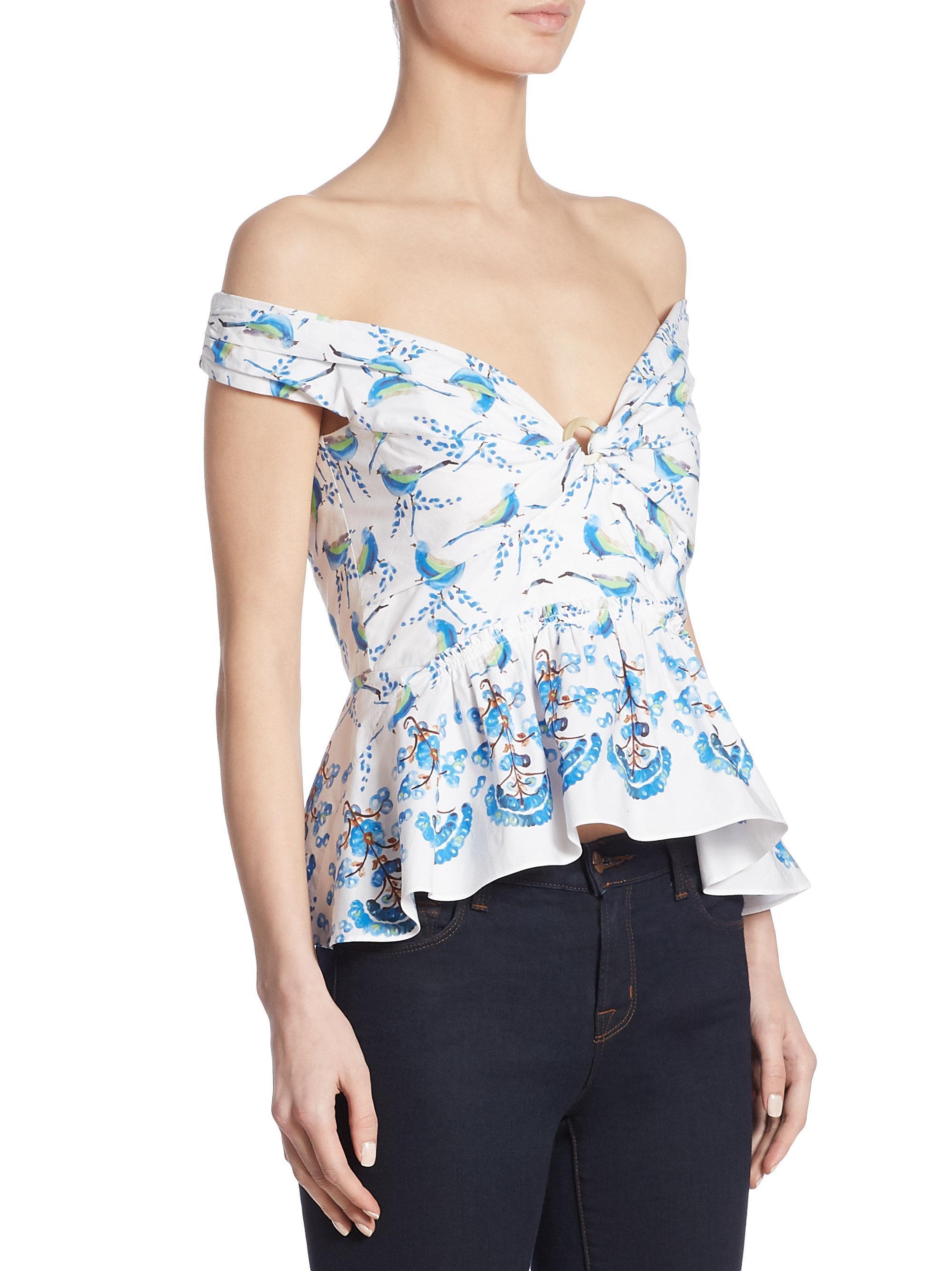 Ebay For Sale Discount Great Deals Peter Pilotto Woman Off-the-shoulder Cotton-poplin Peplum Top Turquoise Size 12 Peter Pilotto 2018 New Cheap Online Discount Factory Outlet LGUTS