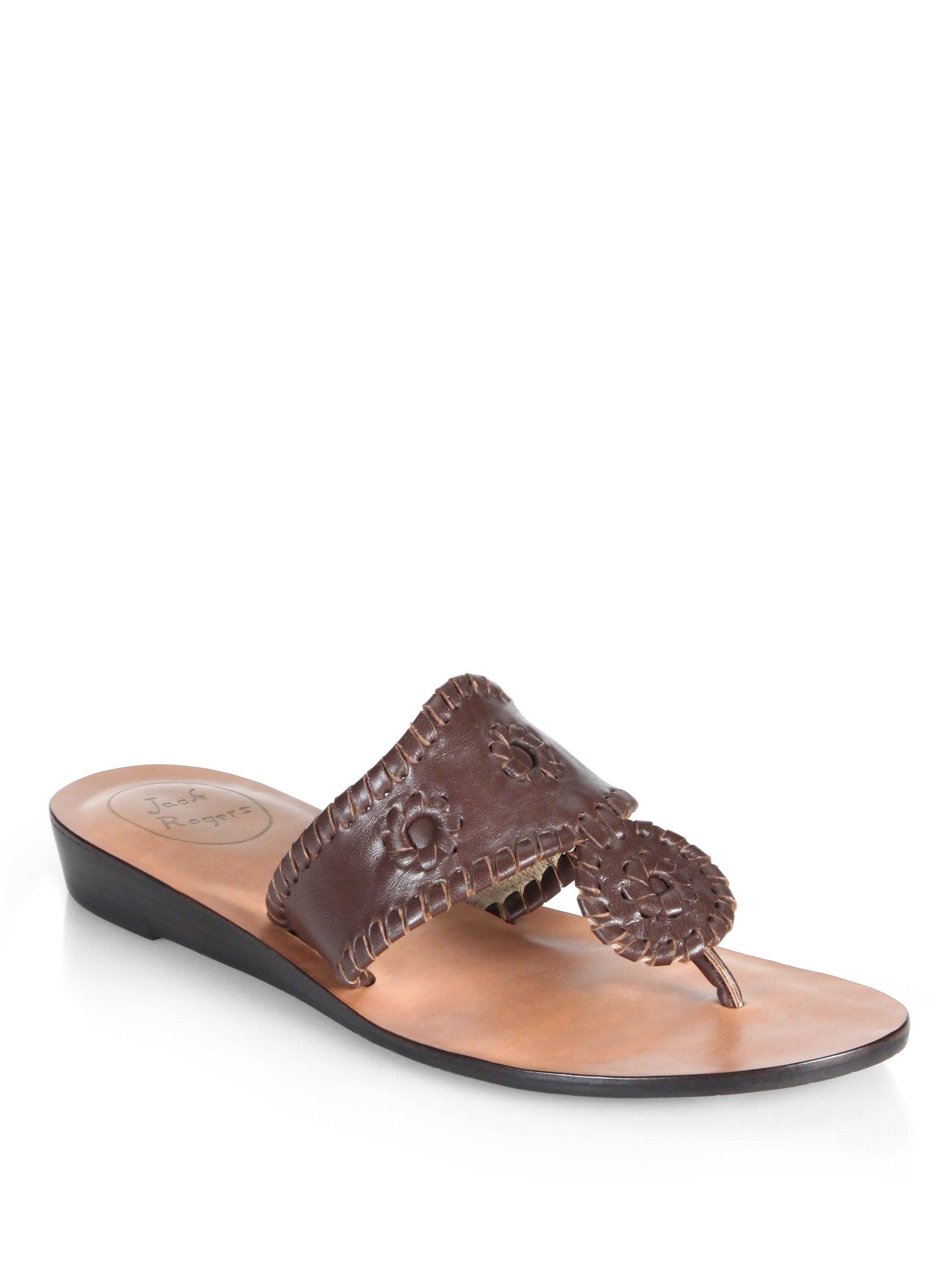 Jack Rogers Capri Leather Mid-Wedge Sandals tMao9aZdc