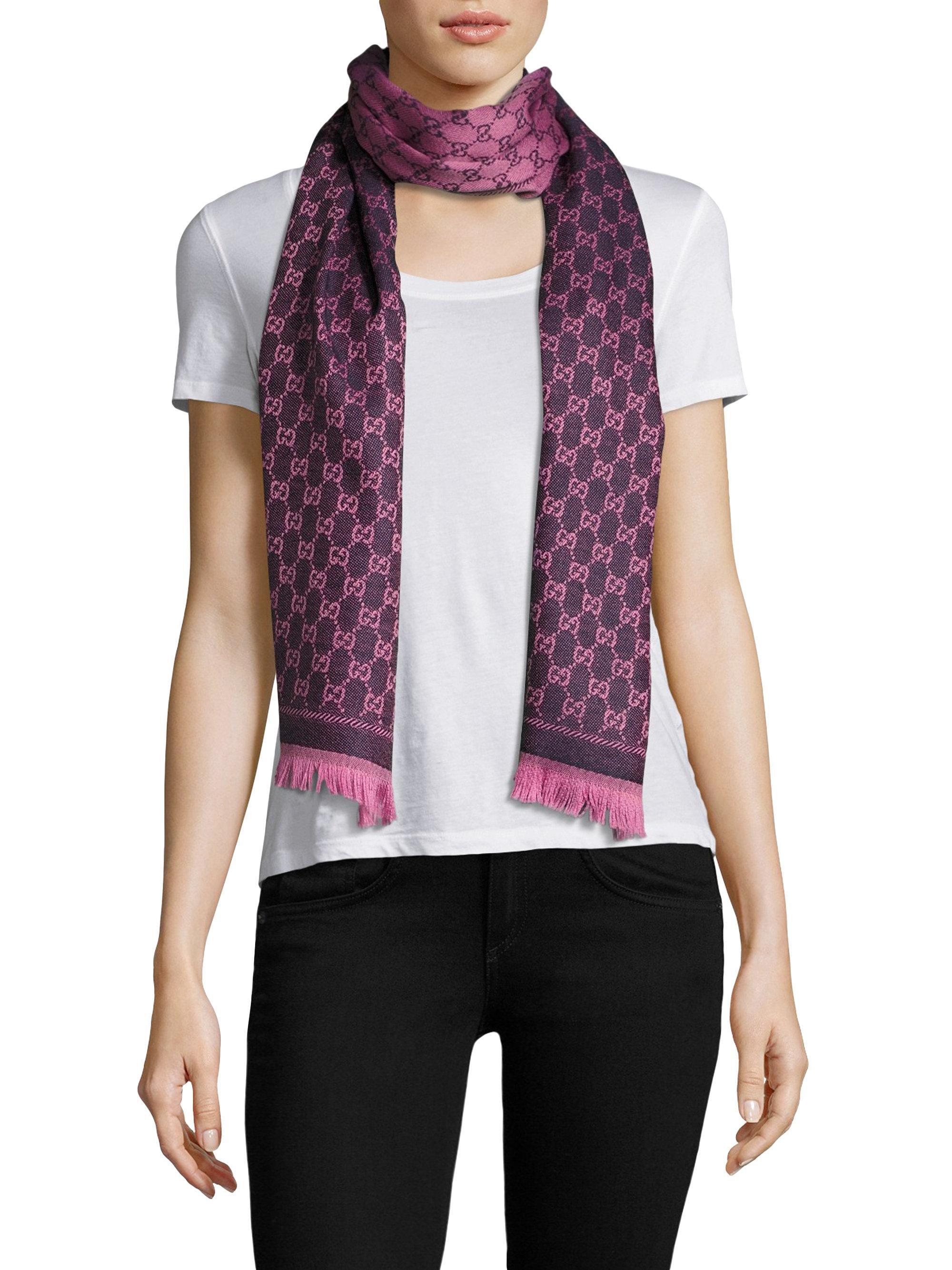 f4c70559ab0 Lyst - Gucci New Sten Gg Wool Scarf in Purple