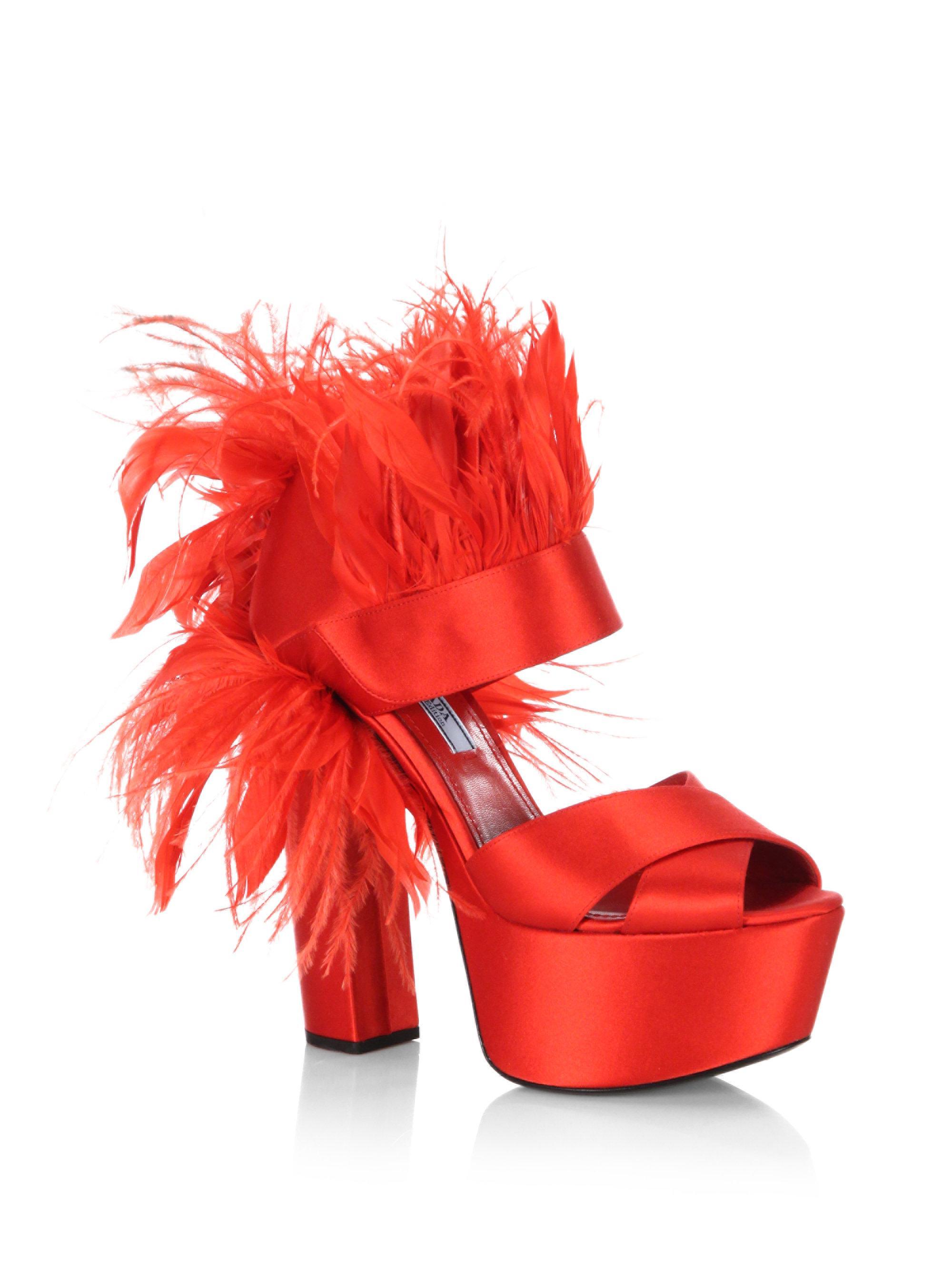 Lyst Prada Feather Trim Satin Platform Sandals In Red