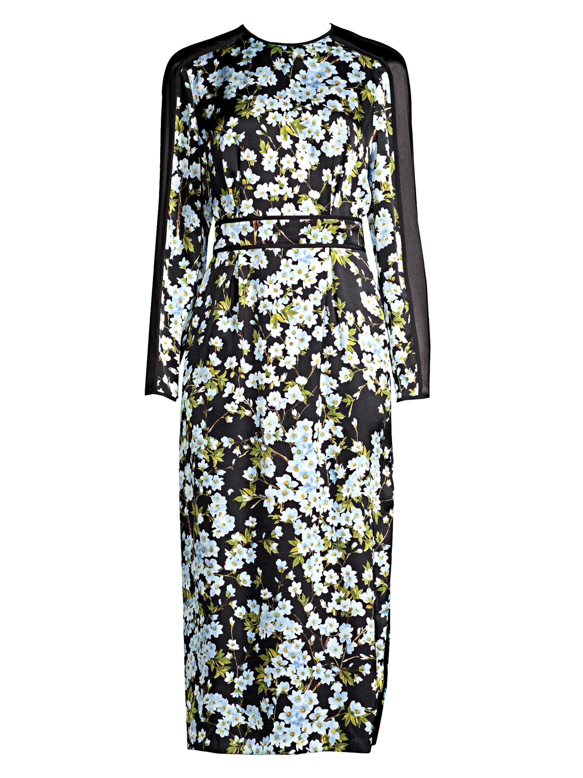 009e6b579df0 ESCADA. Women s Long-sleeve Floral Silk Midi Dress