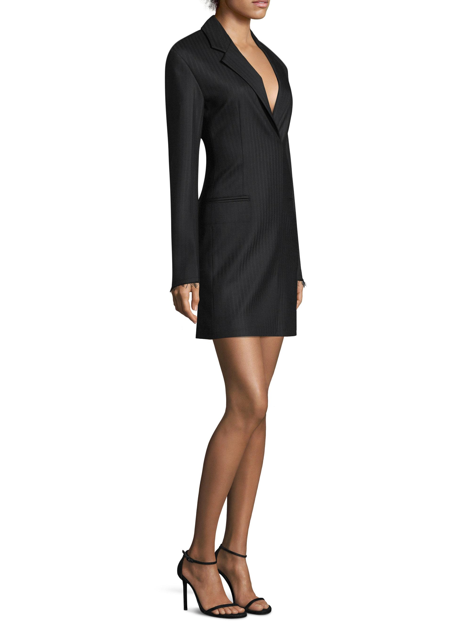 5c9a62d920be Helmut Lang Herringbone Wool Blazer Dress in Black - Lyst