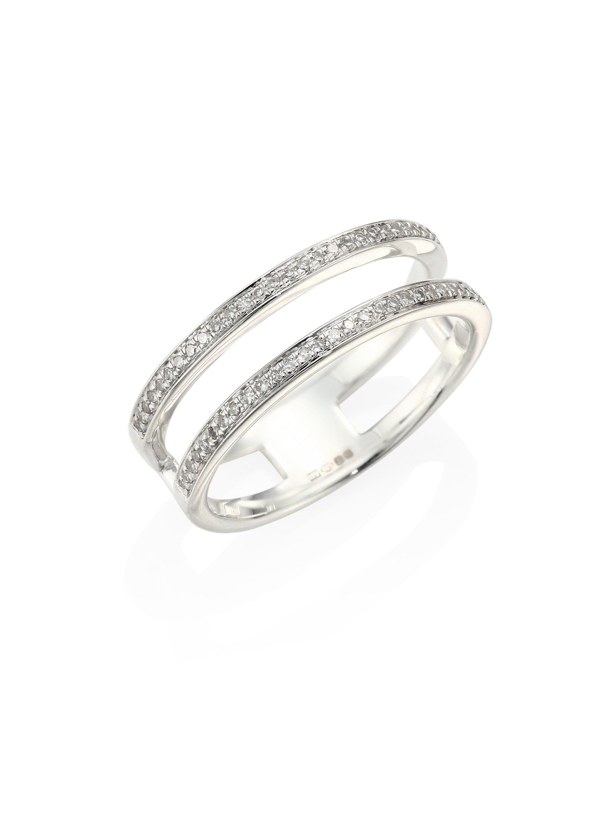 Skinny Diamond Double Band Ring, Sterling Silver Monica Vinader