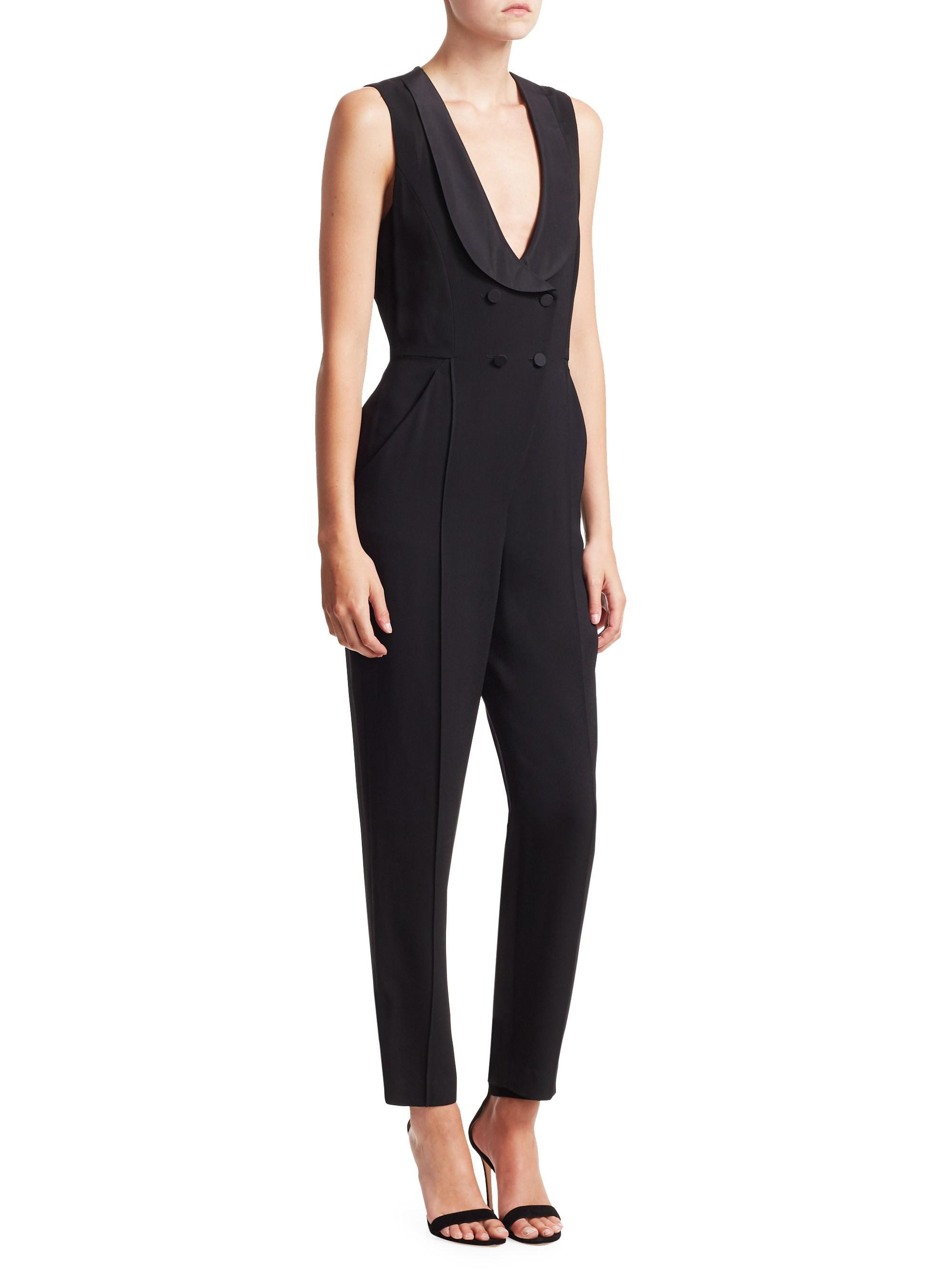 ff598f7c838 Lyst - A.L.C. Women s Everett Double-breasted Jumpsuit - Black - Size 10 in  Black