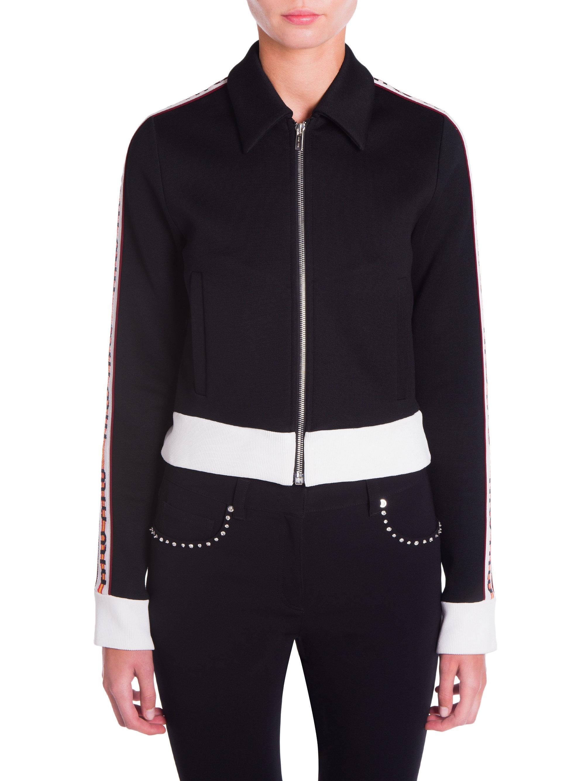 0d6a19fe403f Miu Miu Logo Tracksuit Jersey Jacket in Black - Lyst