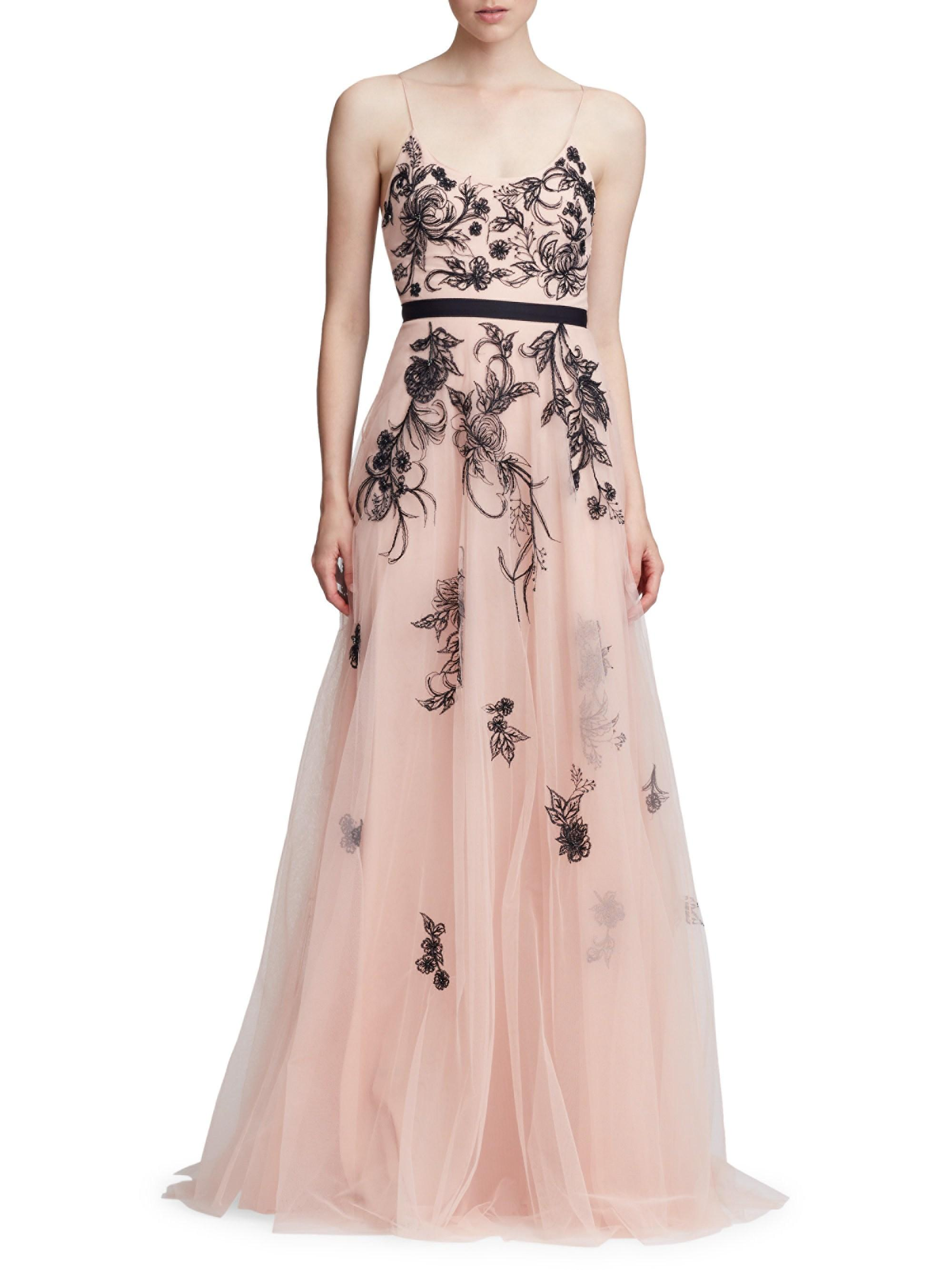 ce36c096d7a34 Lyst - Marchesa notte Sleeveless Metallic Floral Beaded Tulle A-line ...