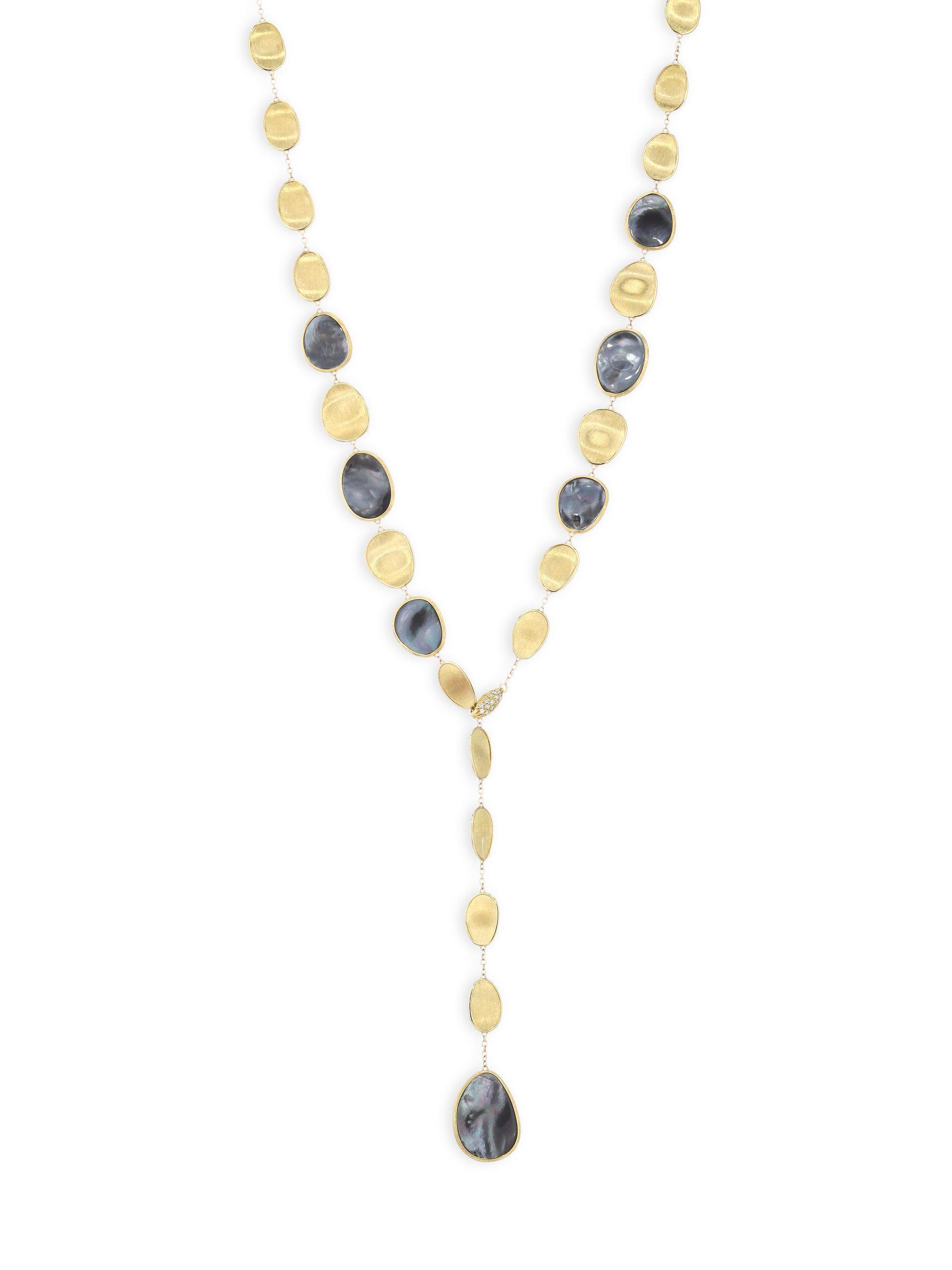 Marco Bicego Lunaria 18k Black Mother-of-Pearl Station Necklace pz2okCJ