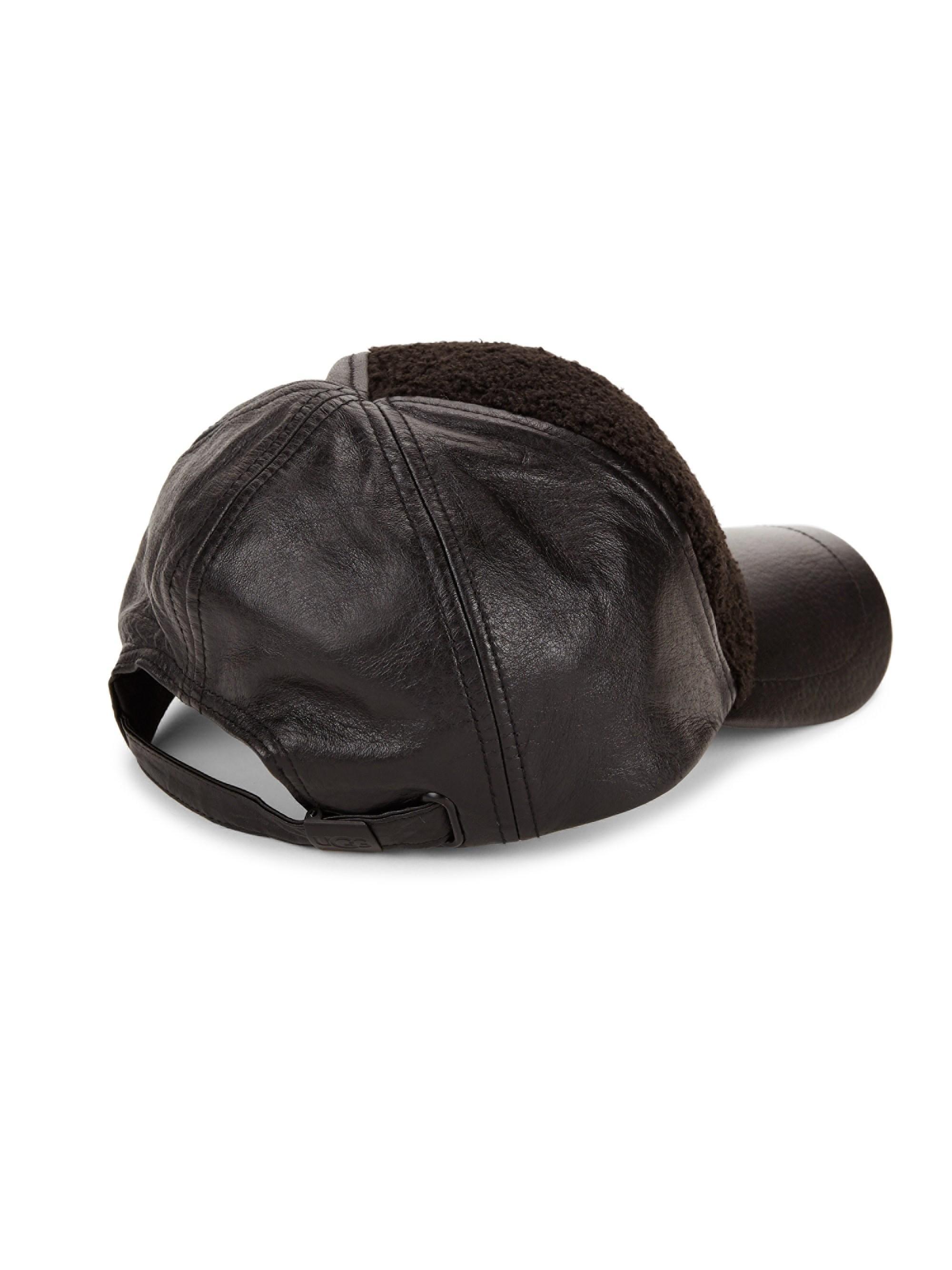 eda1da8b7 Lyst - UGG Faux Sherpa & Leather Baseball Cap in Black for Men