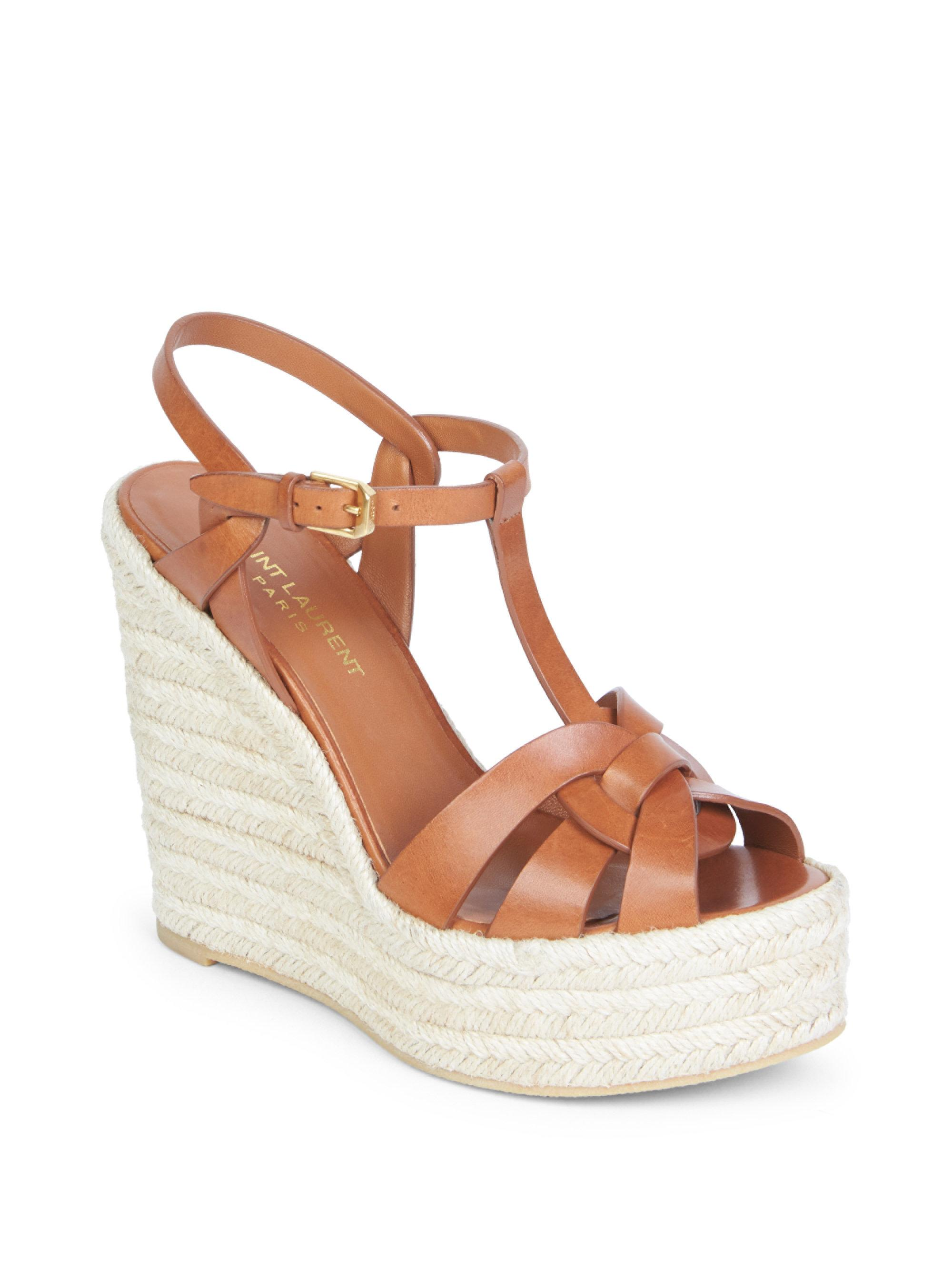 2b299302c37 Saint Laurent Tribute T-strap Leather Wedge Sandals in Brown - Lyst