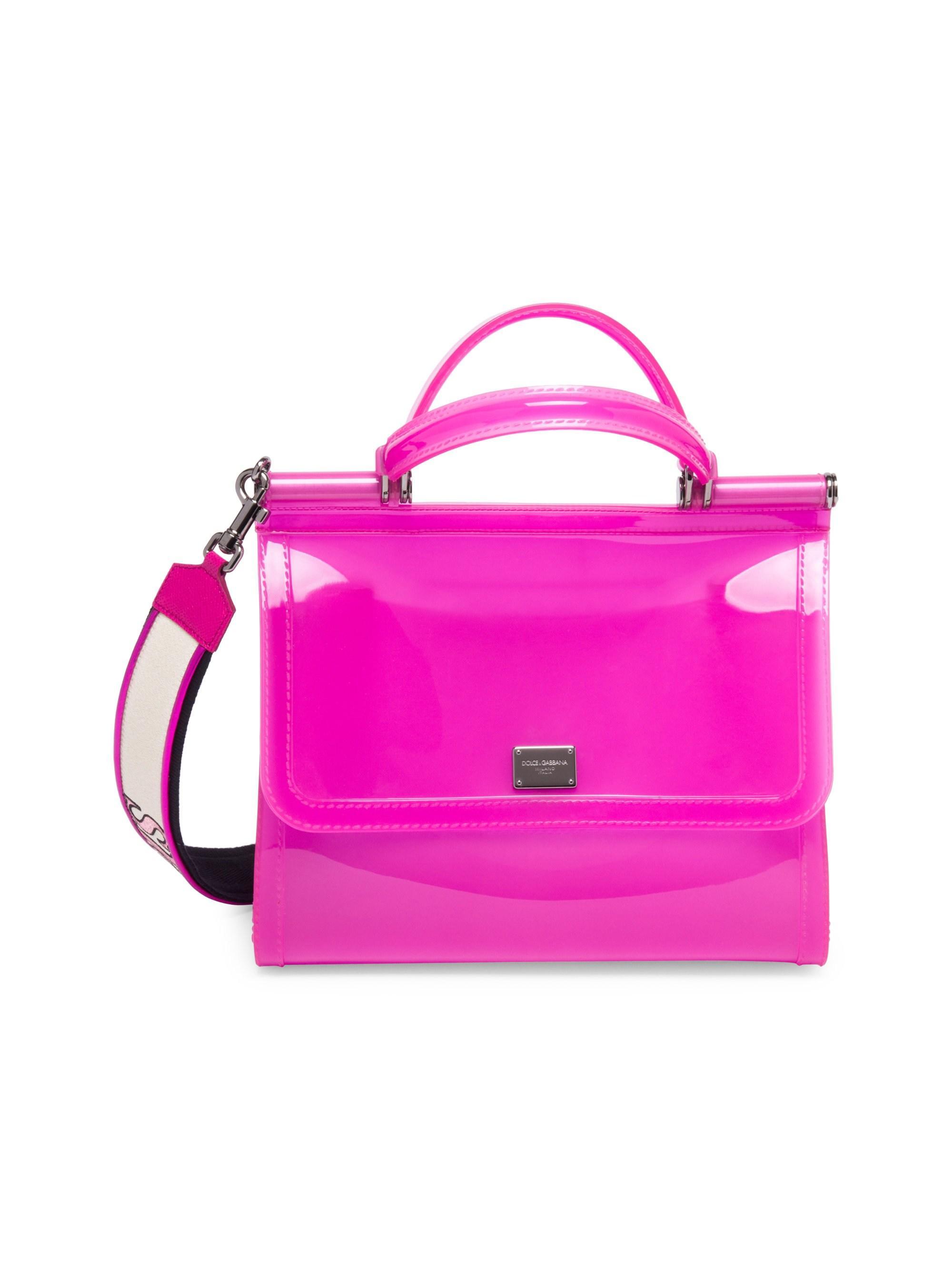 8b4f8ee261 Lyst - Dolce   Gabbana Women s Sicily Pvc Top Handle Bag - Blue in Pink