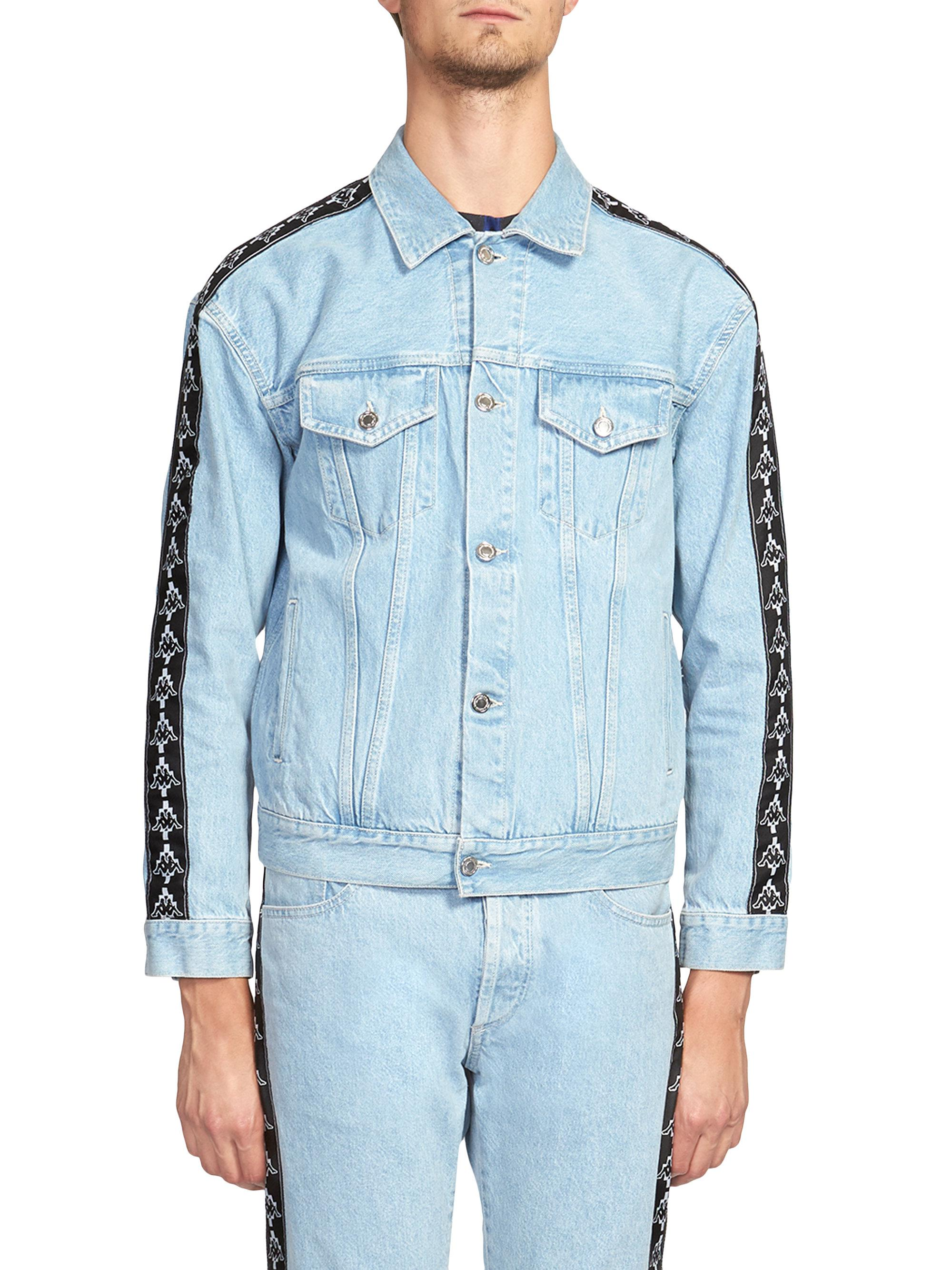 Marcelo Burlon. Men's Blue Kappa Denim Jacket