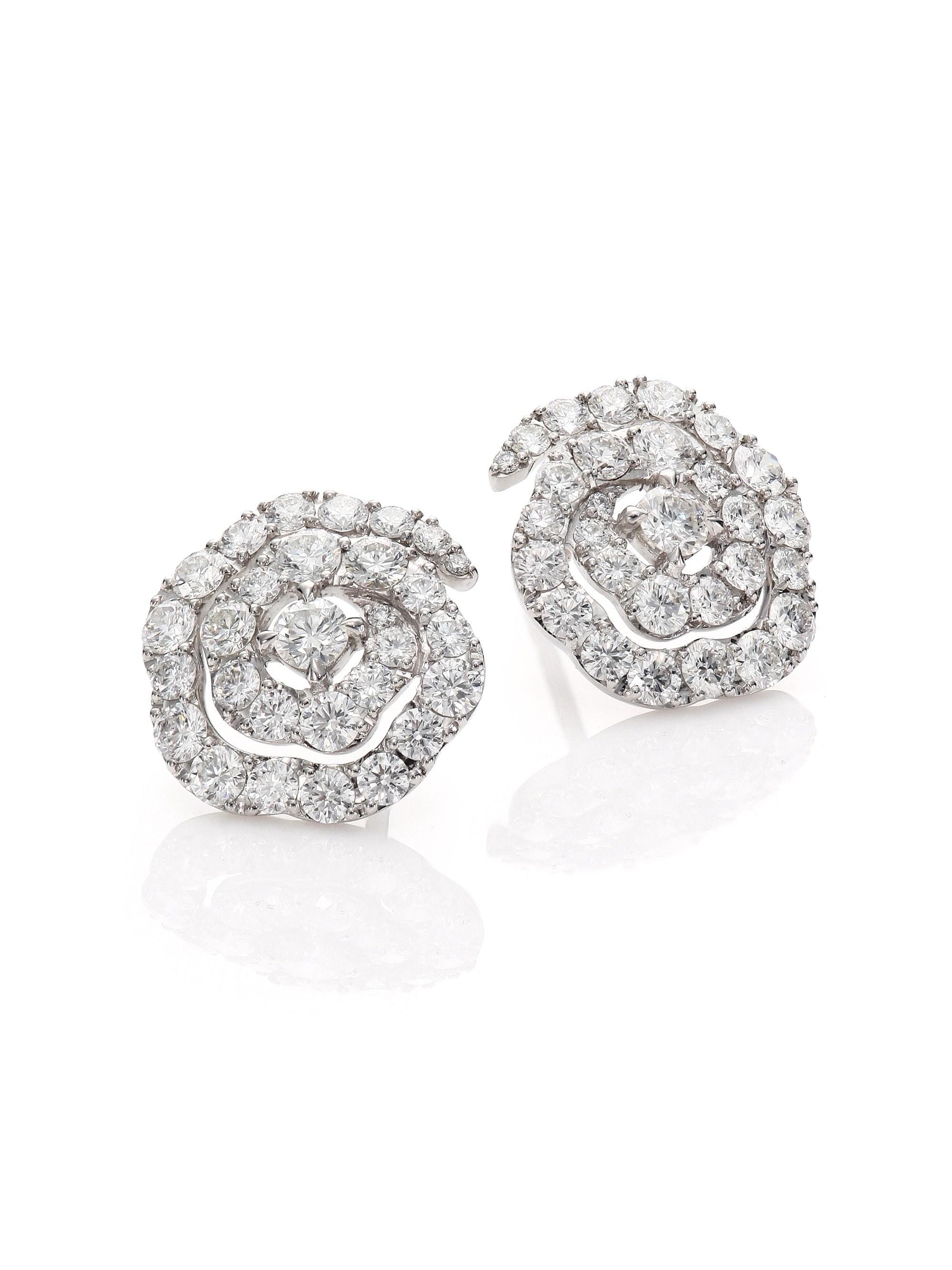057cfa98e Hearts On Fire. Women's Lorelei Diamond & 18k White Gold Floral Stud  Earrings